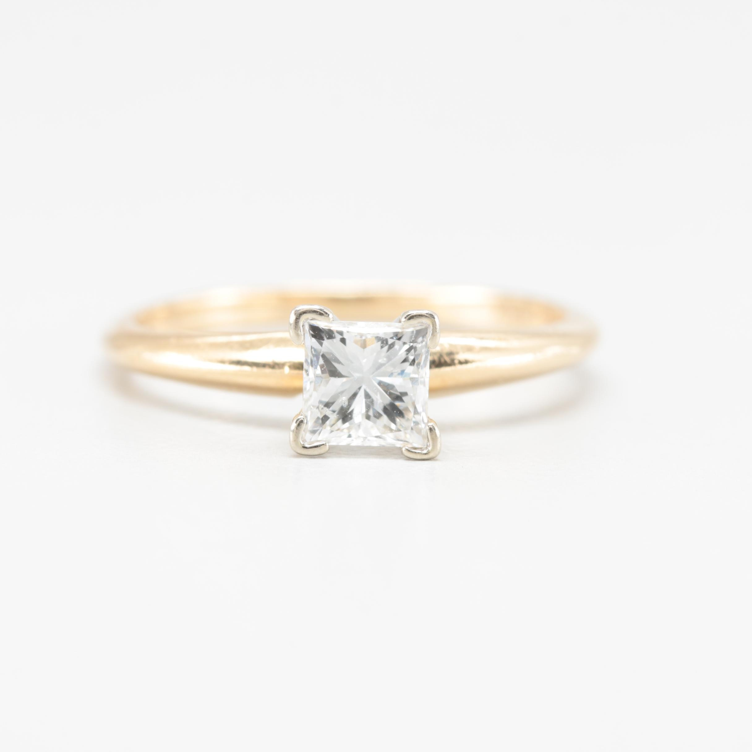 14K Yellow Gold Diamond Solitaire Ring with 18K White Gold Accent