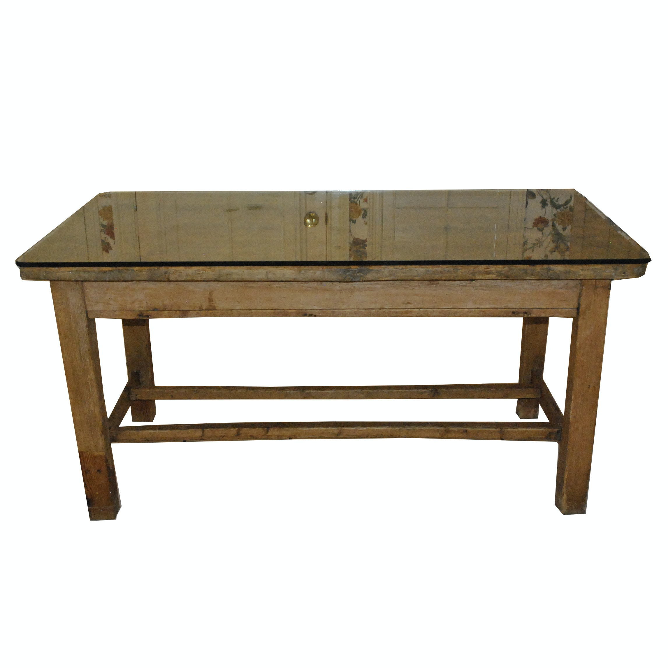 Antique Pine Kitchen Work Table with Glass Top