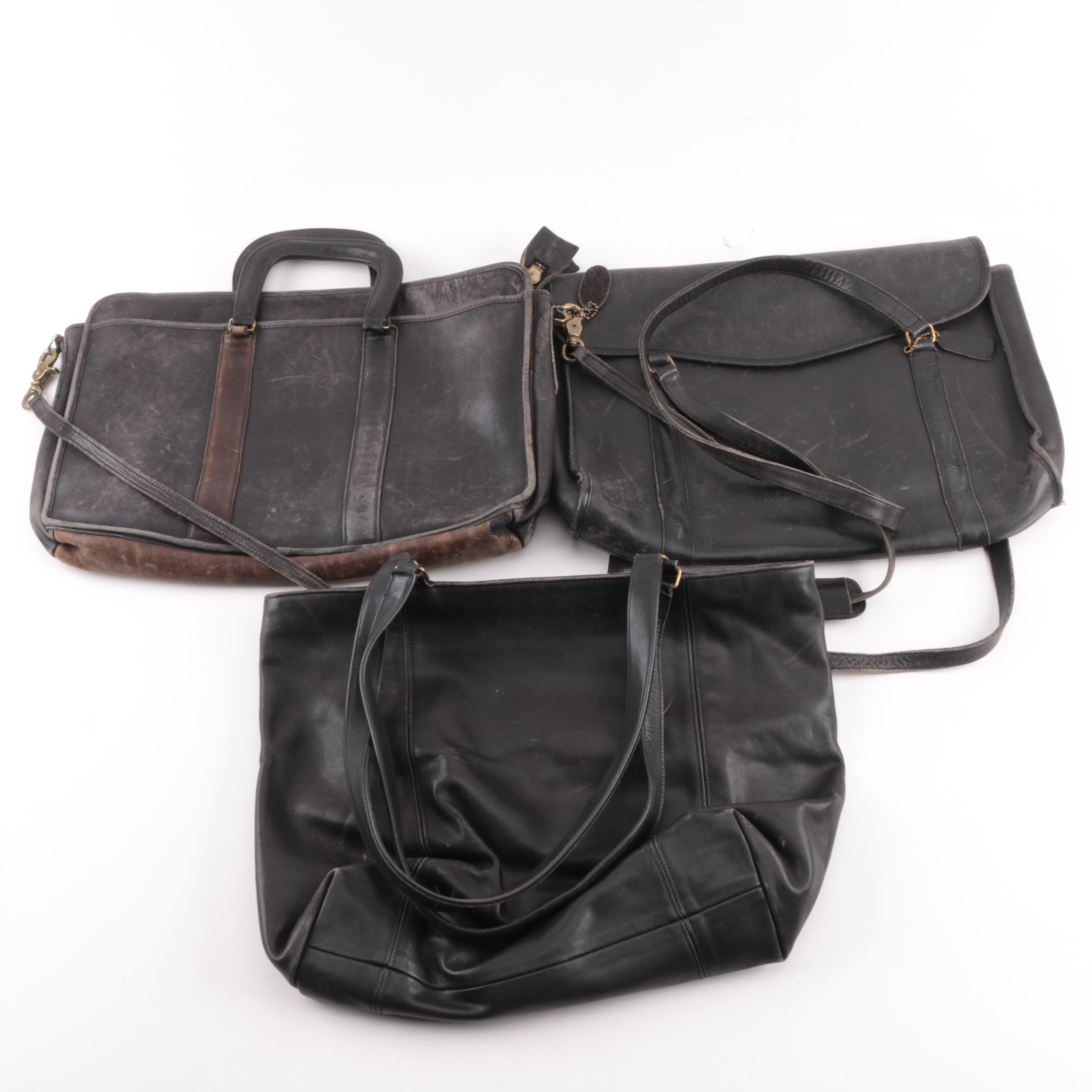 Vintage Coach and Harvé Benard Black Leather Briefcases and Tote Bag
