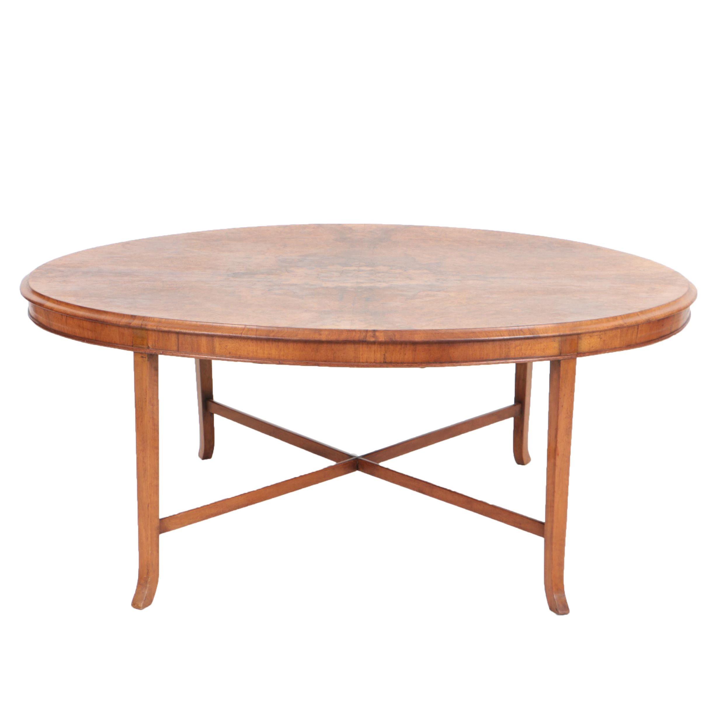 Large Vintage Walnut Burl Wood Coffee Table