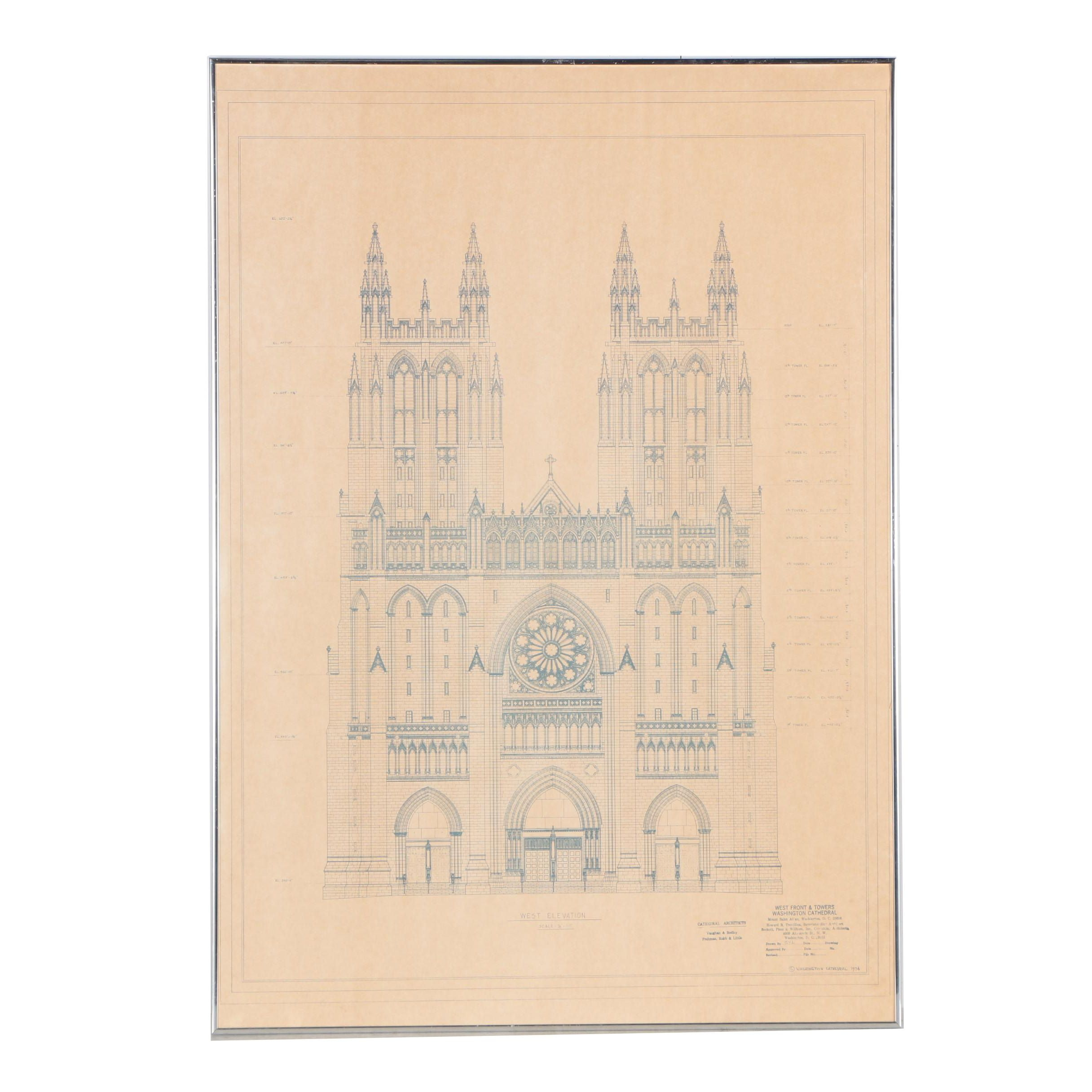 Blueprint for Washington Cathedral West Elevation