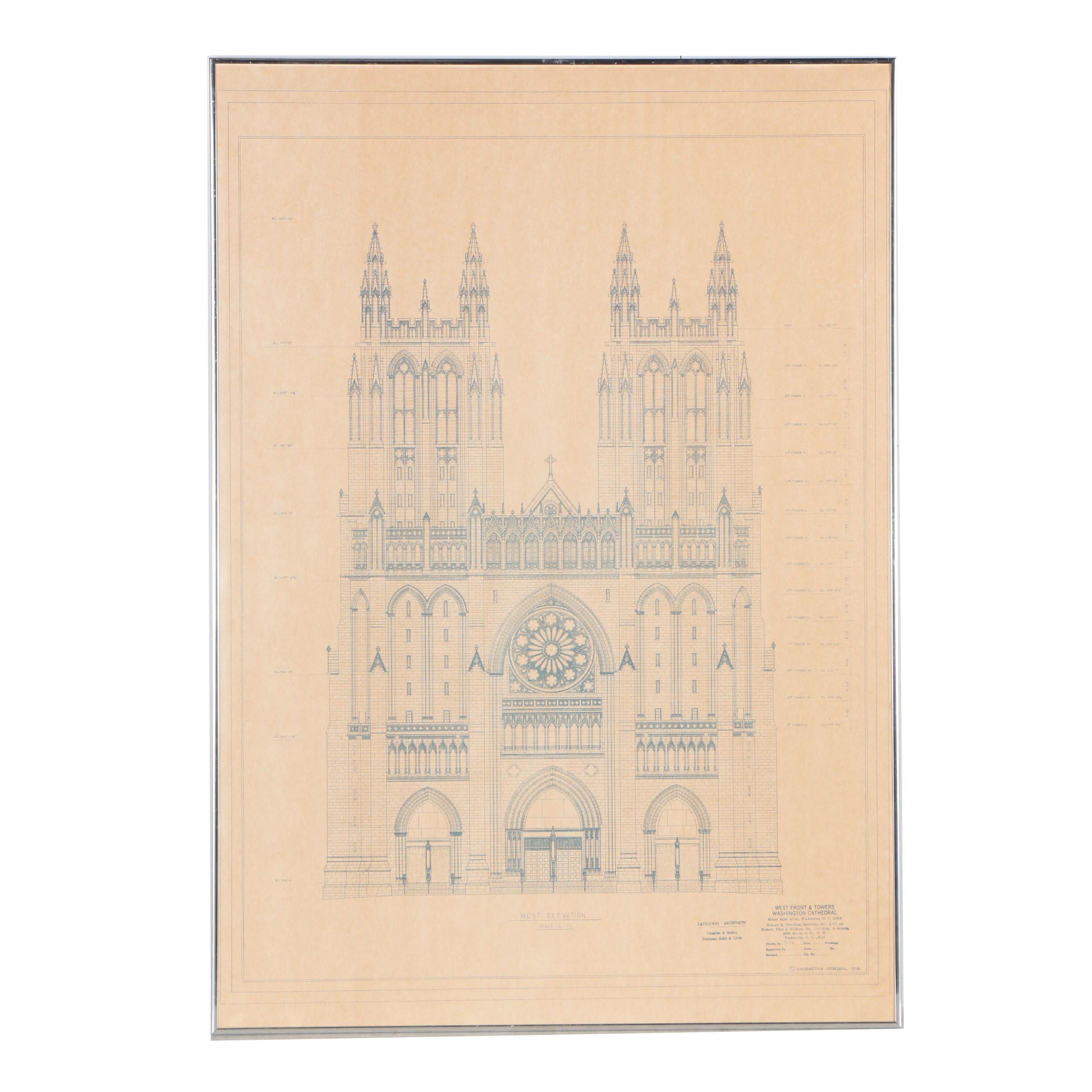 Blueprint for Washington Cathedral West Elevation