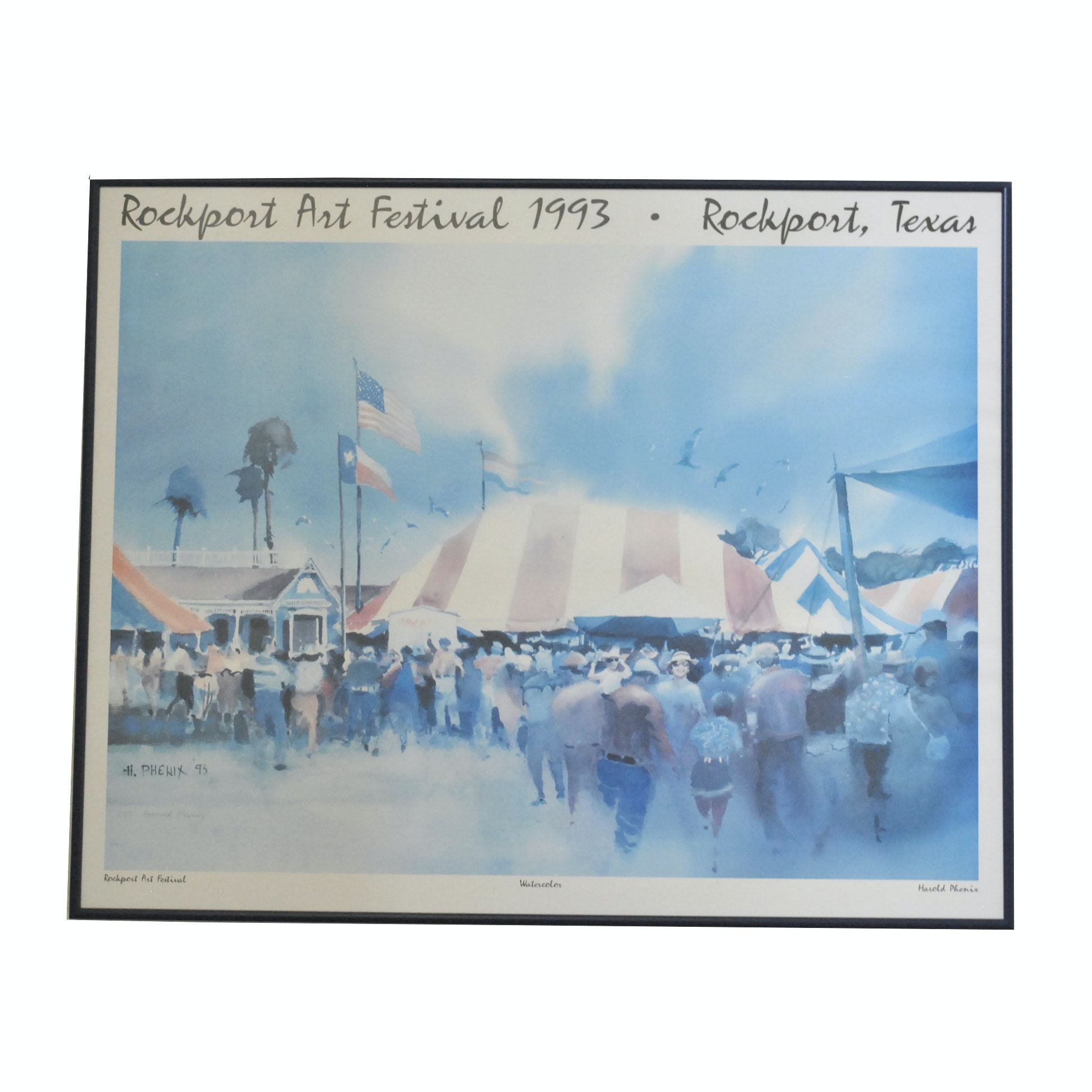 Rockport Art Festival Offset Lithograph Poster After Harold Phenix Watercolor