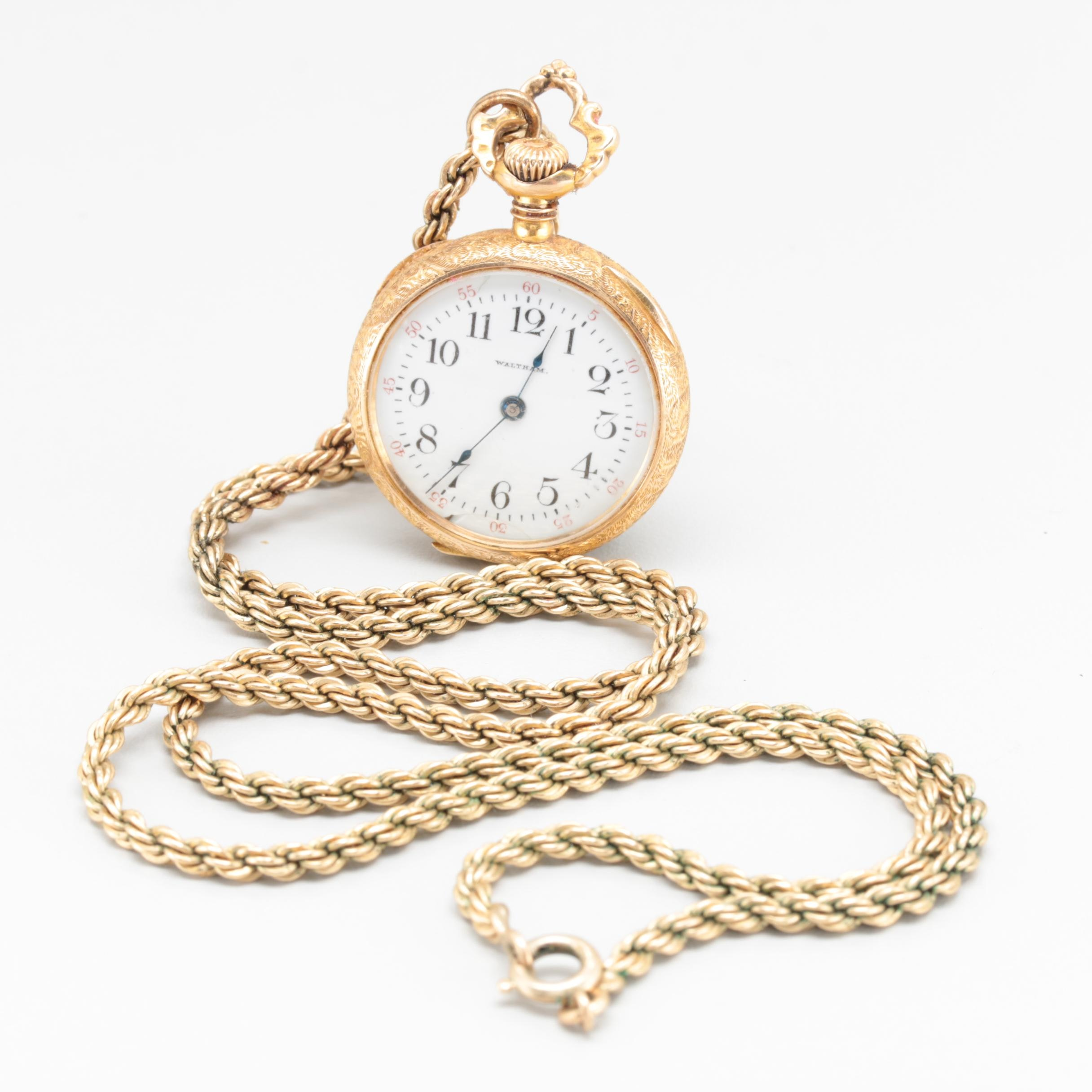 Antique Waltham 14K Yellow Gold Pendant Watch