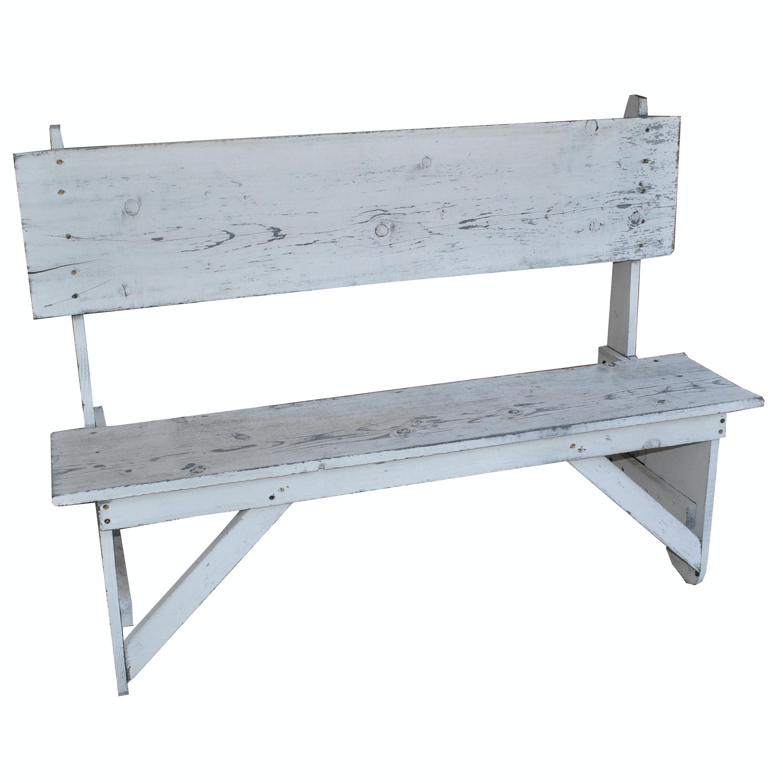 Vintage Primitive Wooden Bench with Whitewash Finish