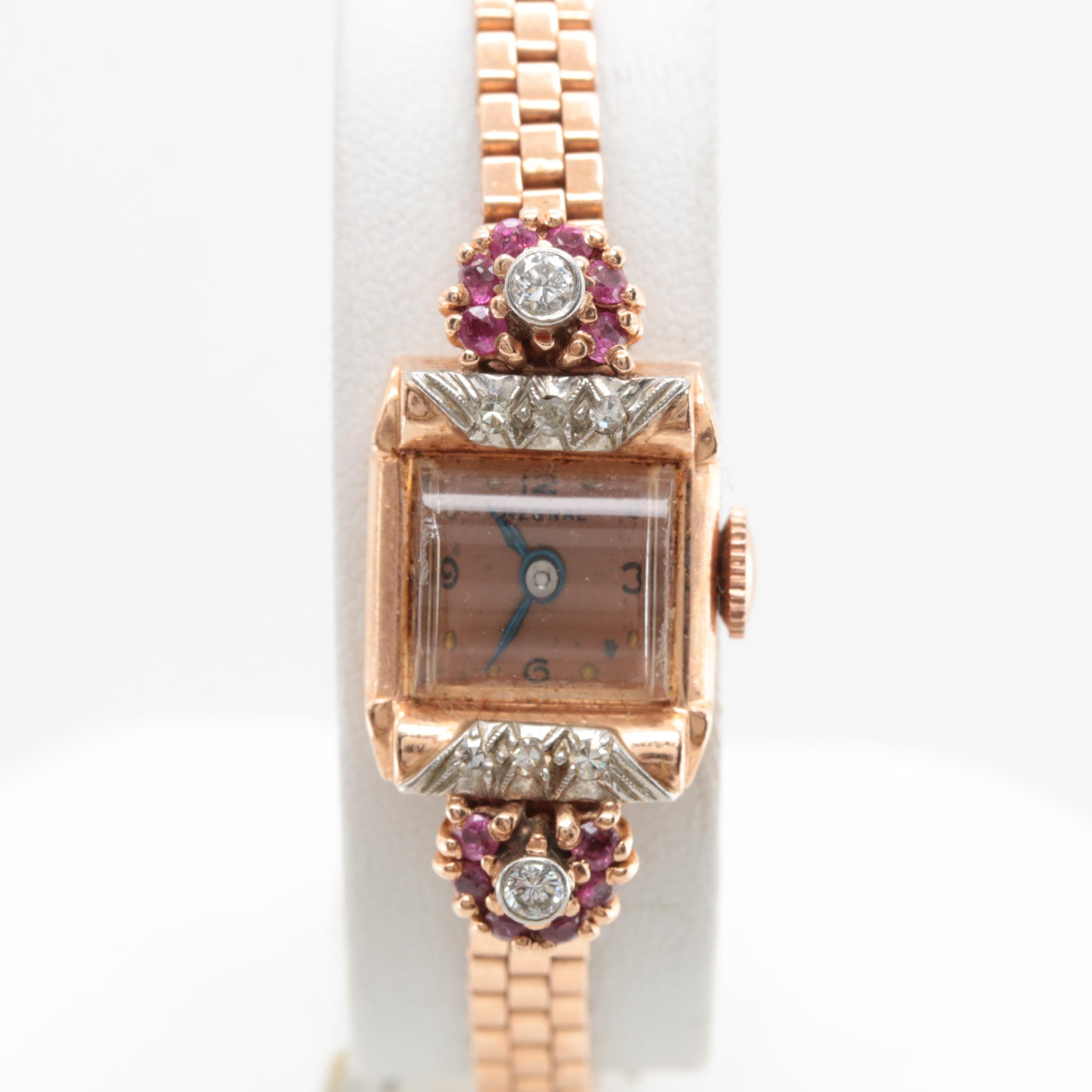 Regal 14K Rose Gold Diamond and Ruby Wristwatch