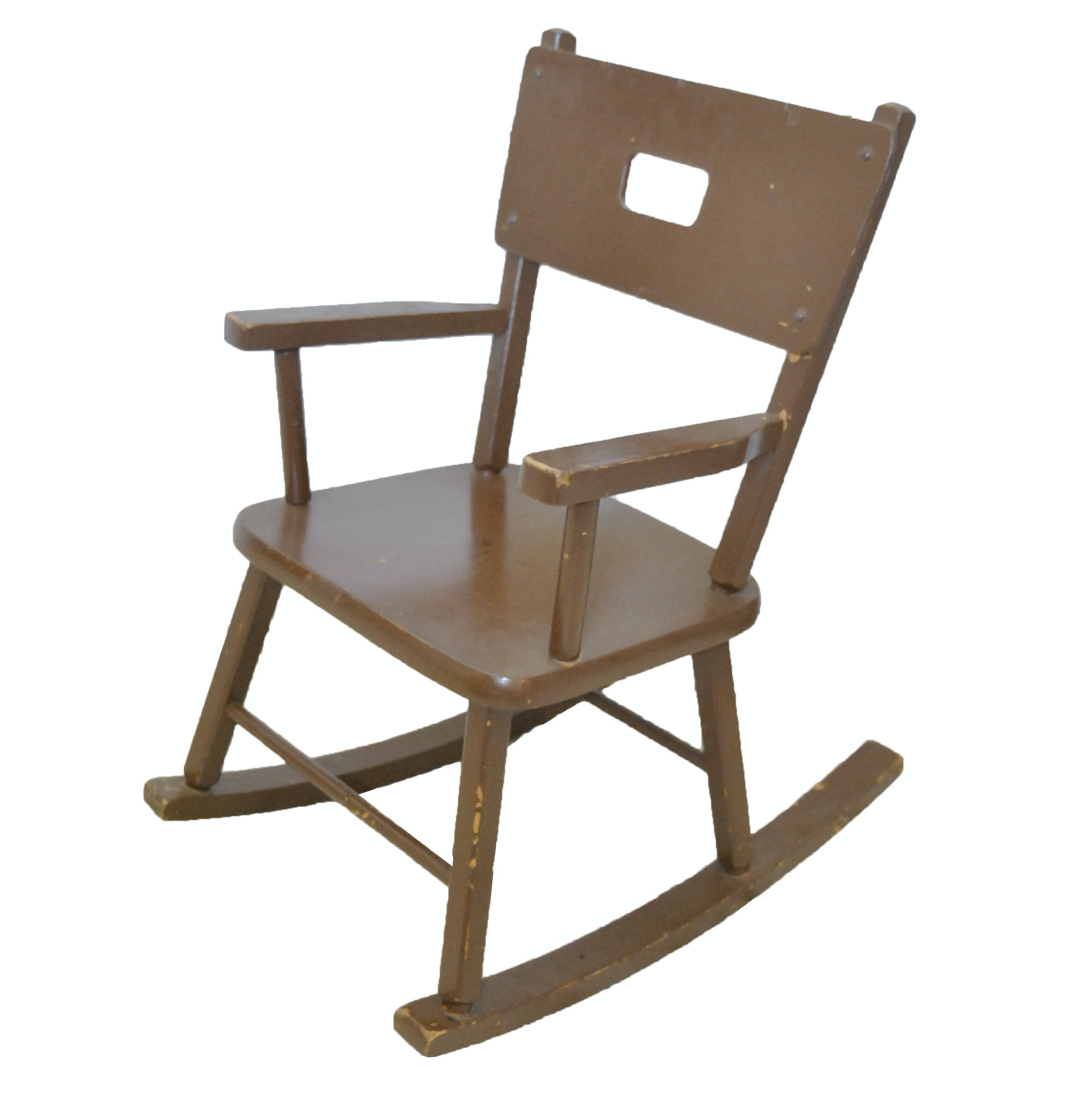 Vintage Brown Painted Childrenu0027s Rocking Chair ...