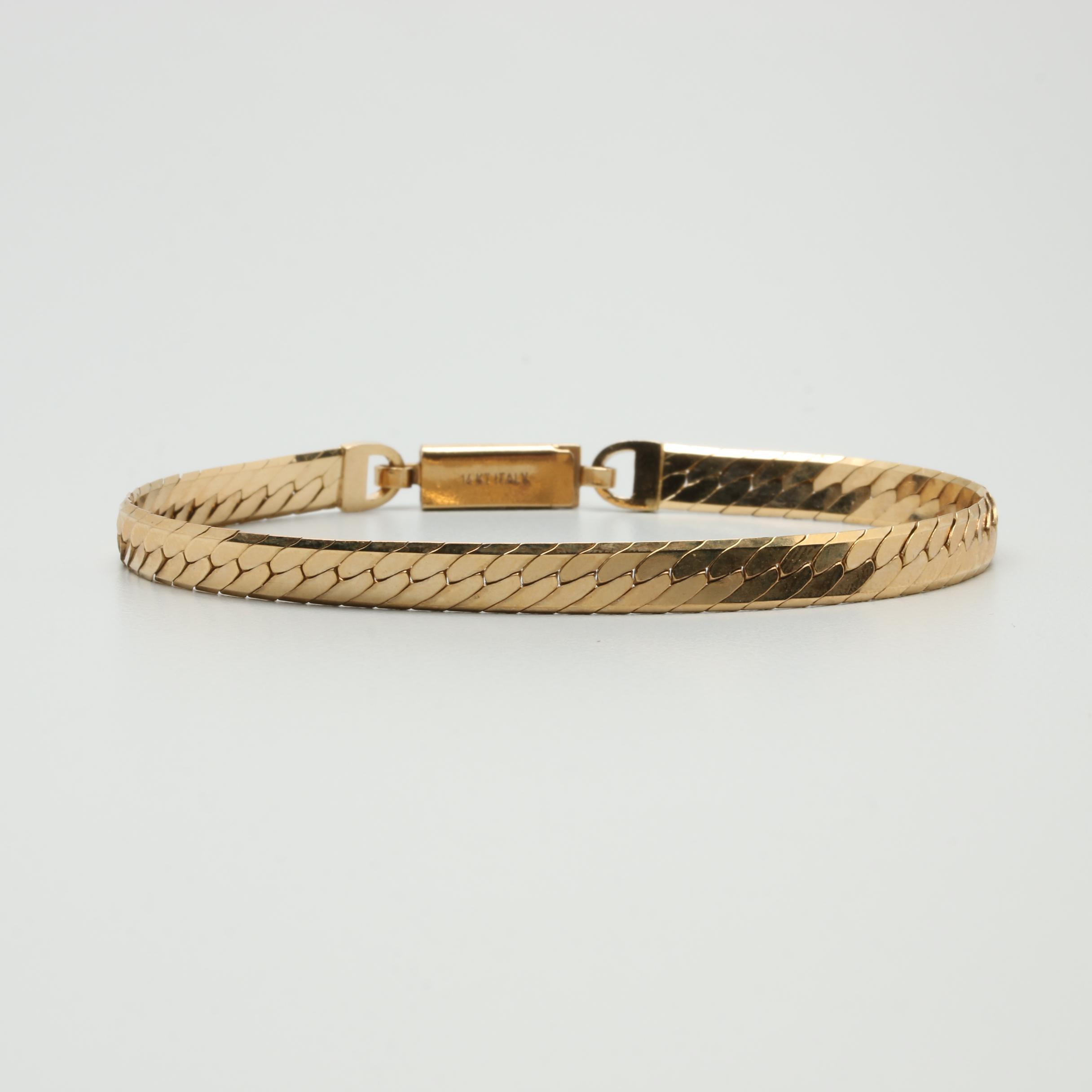 14K Yellow Gold Omega Link Bracelet