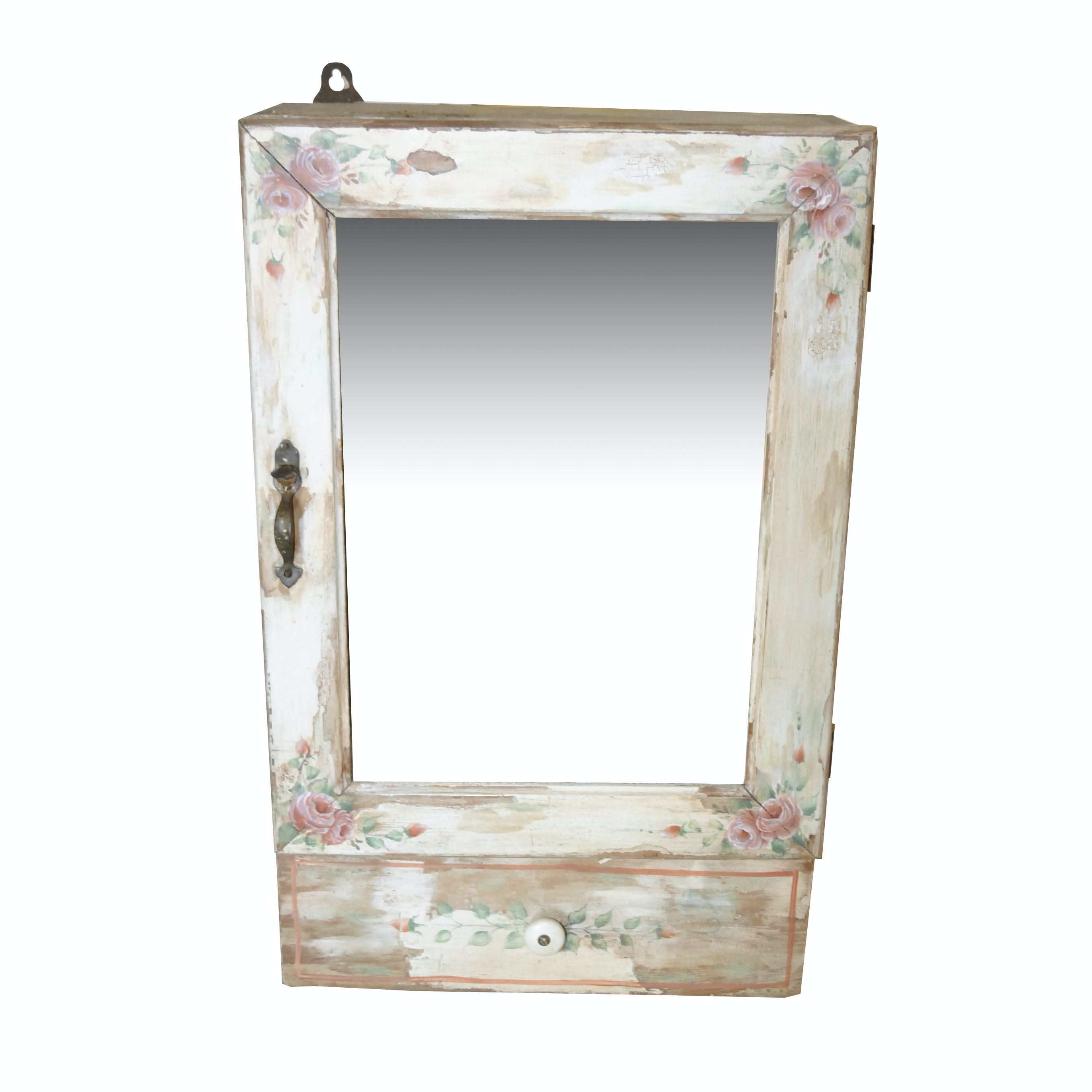 Mirrored Cabinet with Painted Floral Motif