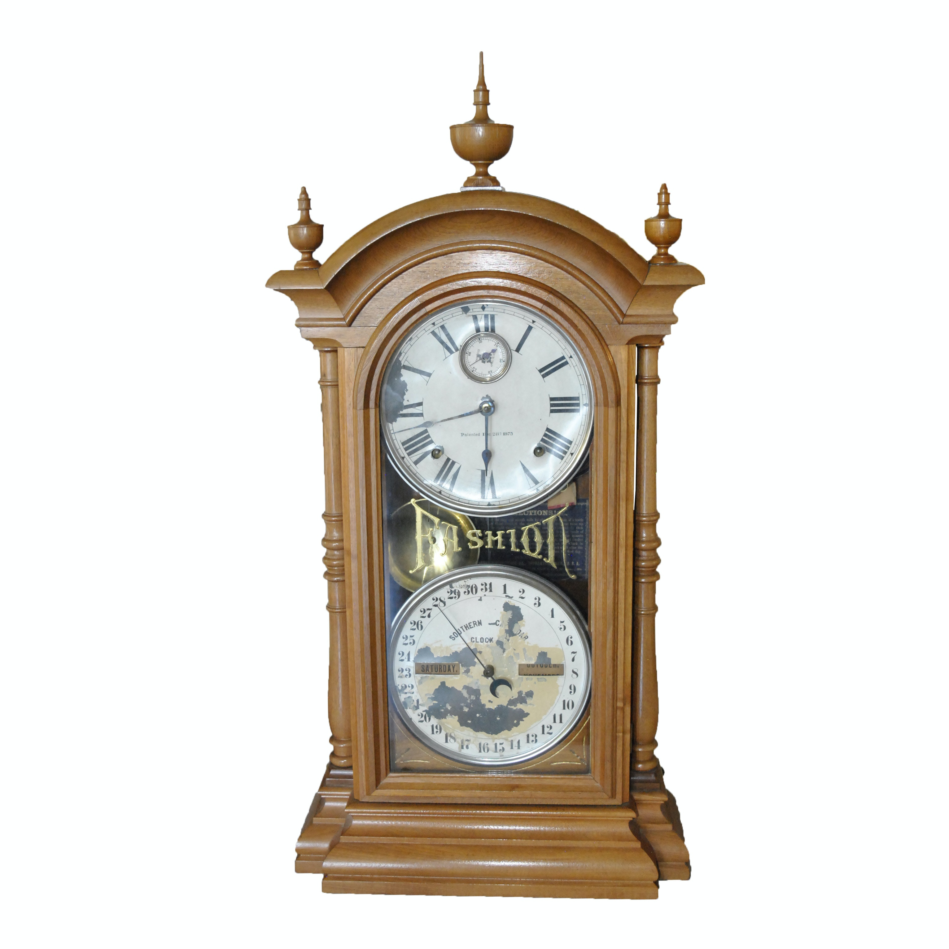 "Seth Thomas ""Fashion"" Clock with Double Dial and Full Columns"