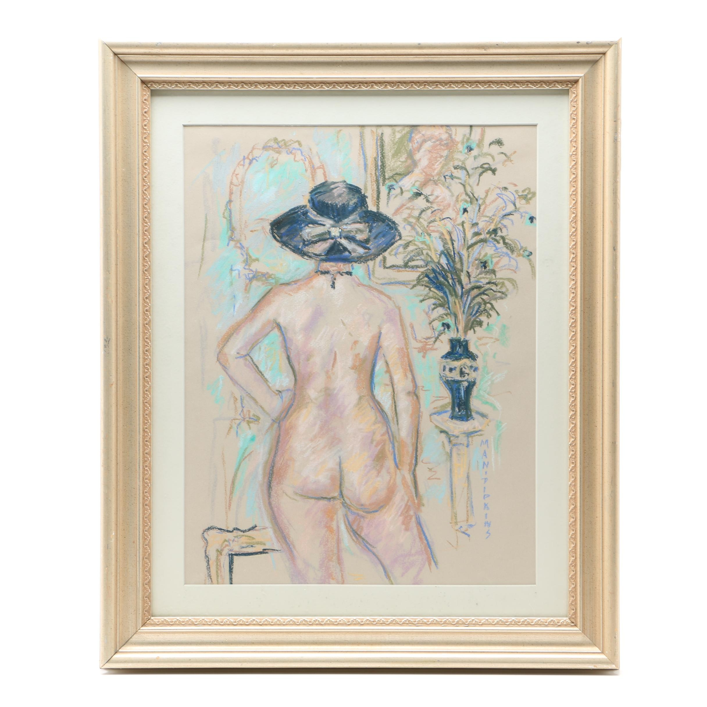 Gloria Mani Pipkins Pastel Drawing of Nude Figure