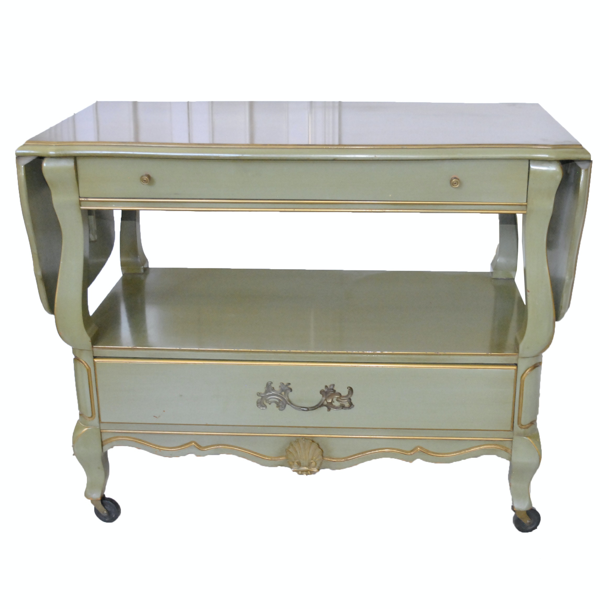 Green Painted French Provincial Style Server