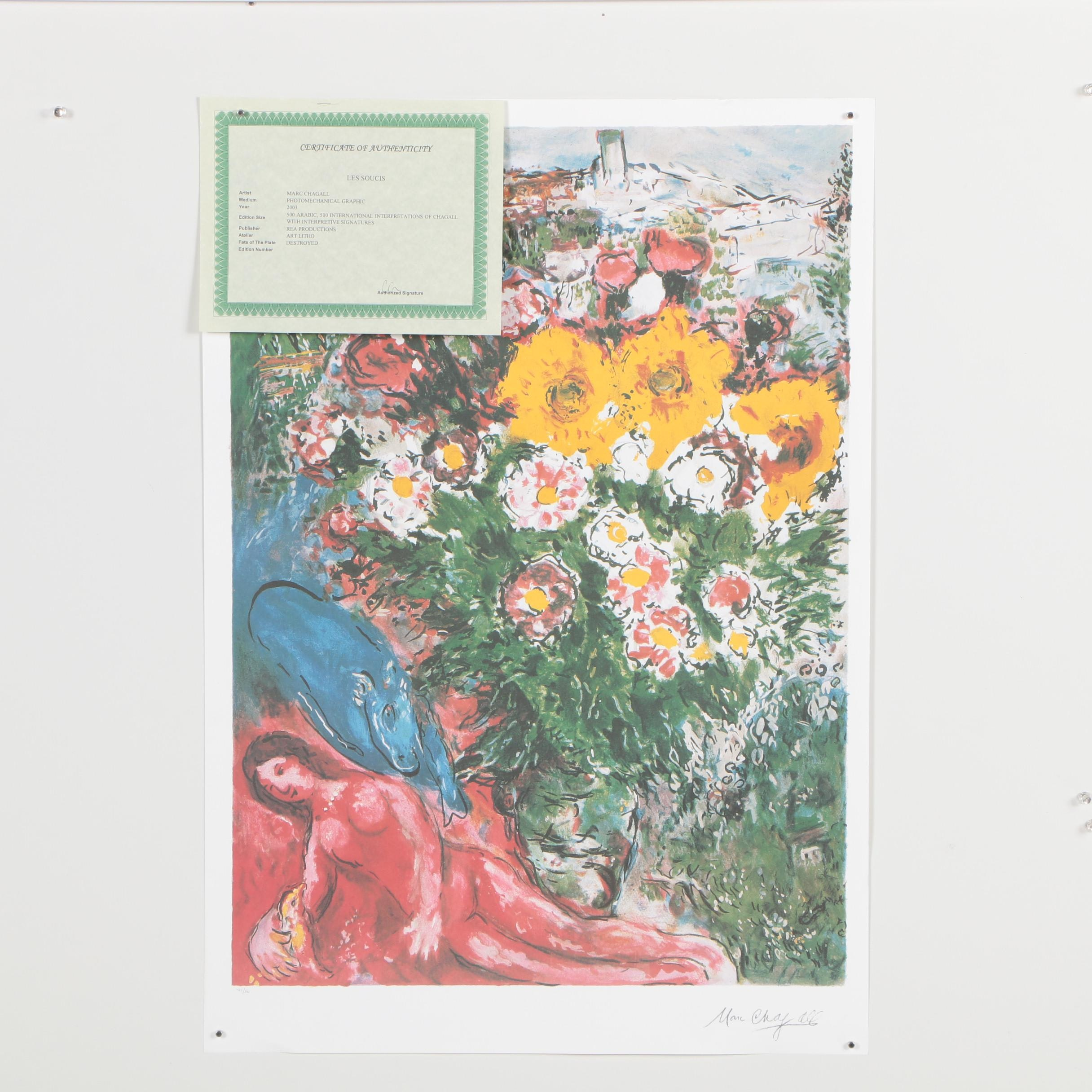 "Limited Edition Offset Lithograph after Marc Chagall ""Les Soucis"""