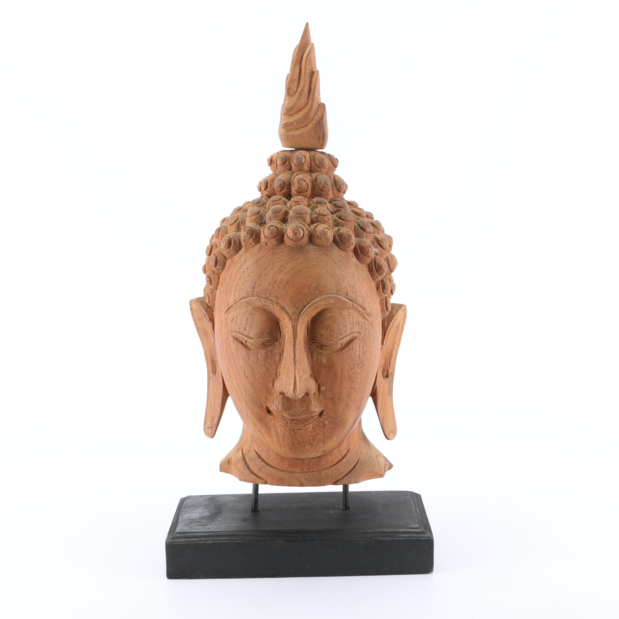 Hand Carved Wooden Thai Style Buddha Head