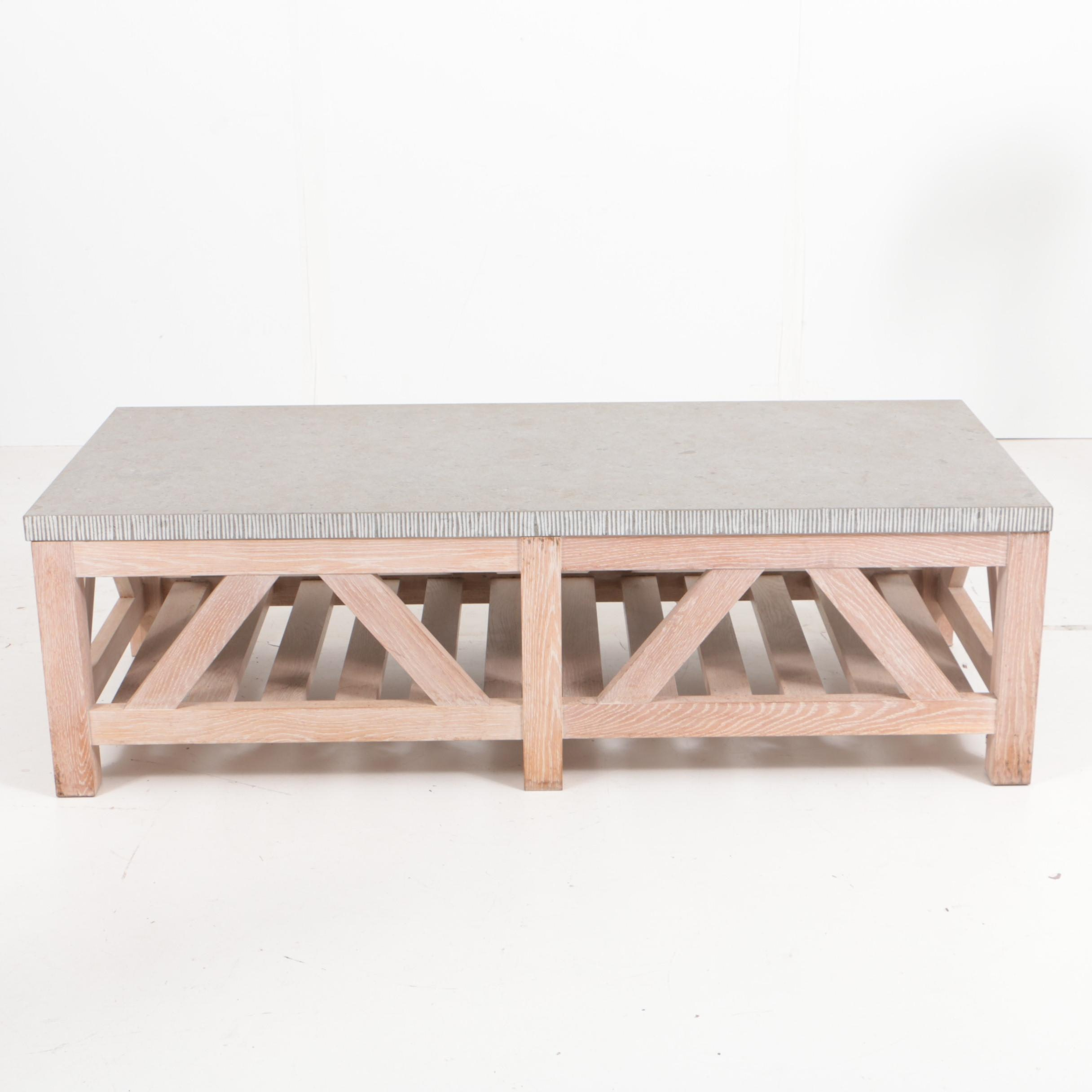 Contemporary Trestle Base Coffee Table with Stone Top
