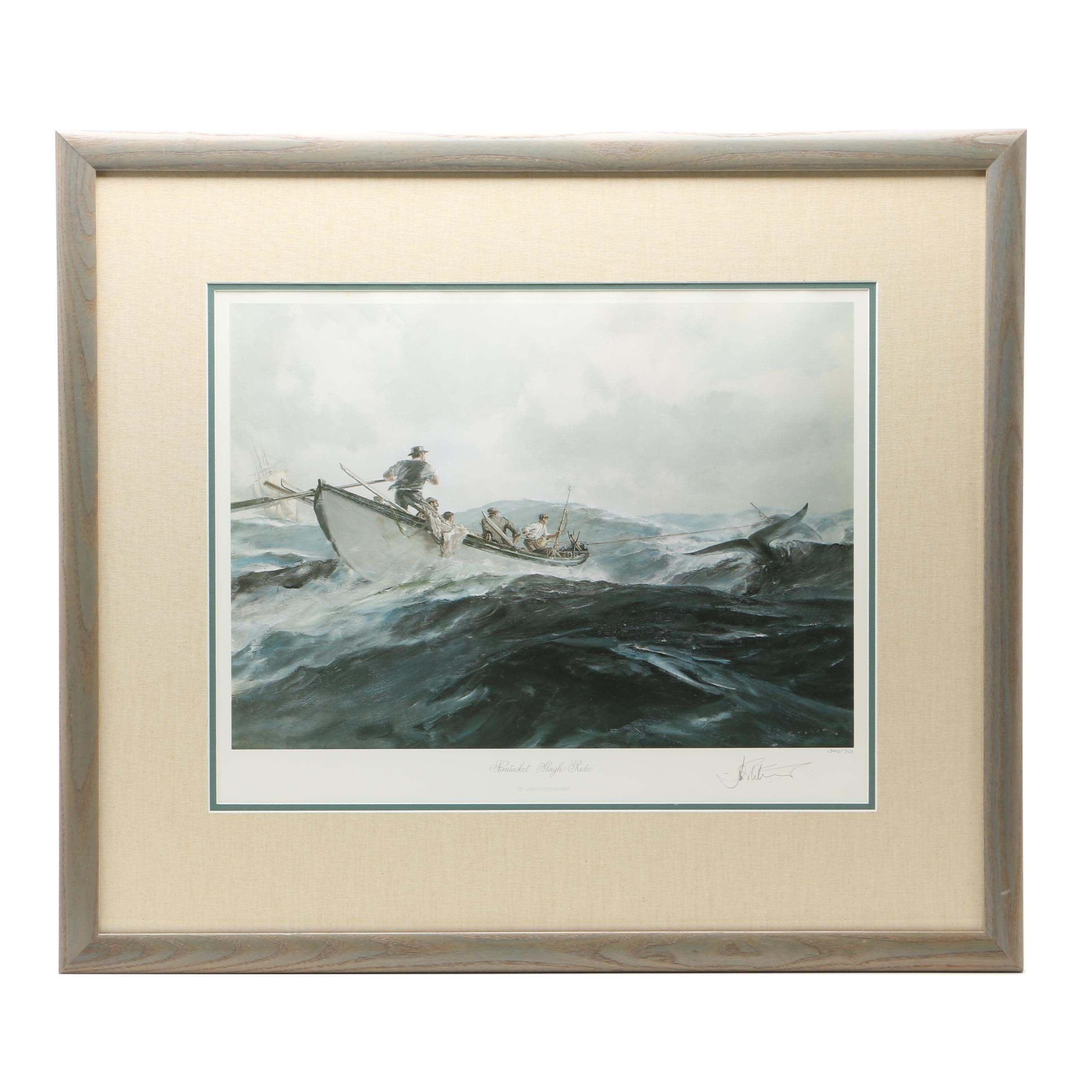 "John Stobart Limited Edition Offset Lithograph ""Nantucket Sleigh Ride"""