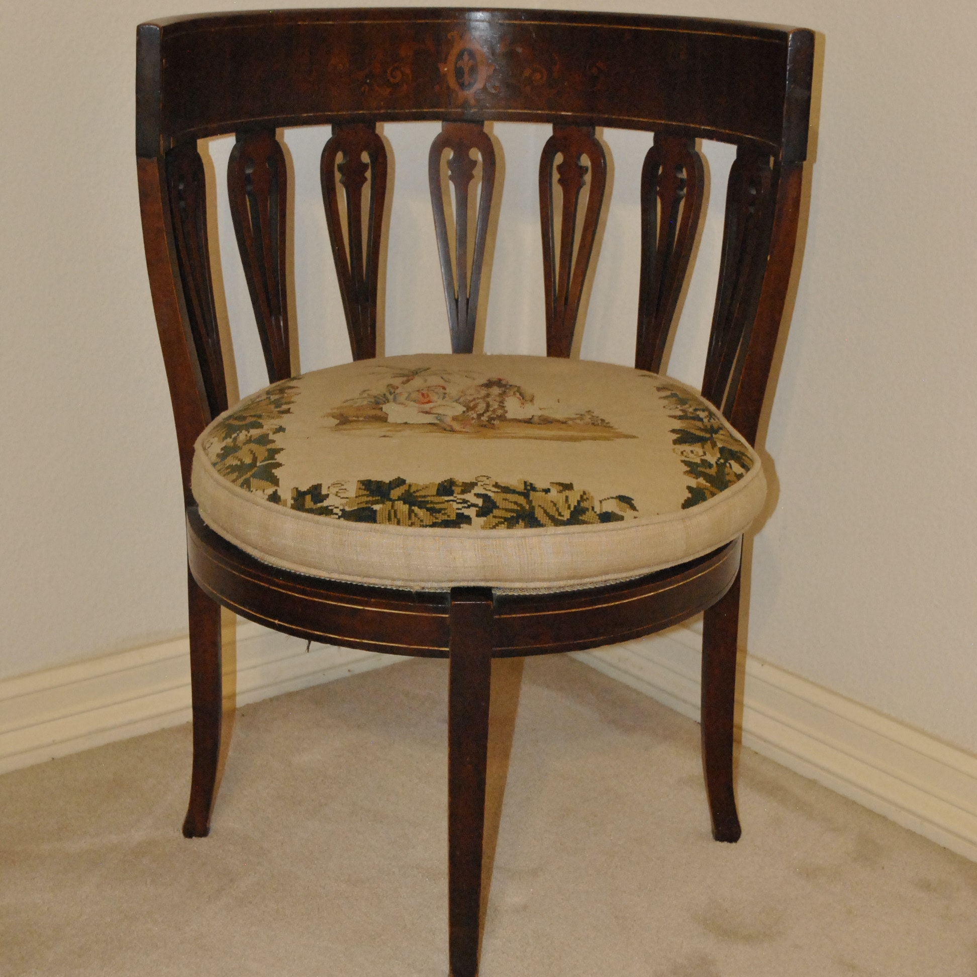 19th Century Corner Chair with Marquetry Inlay