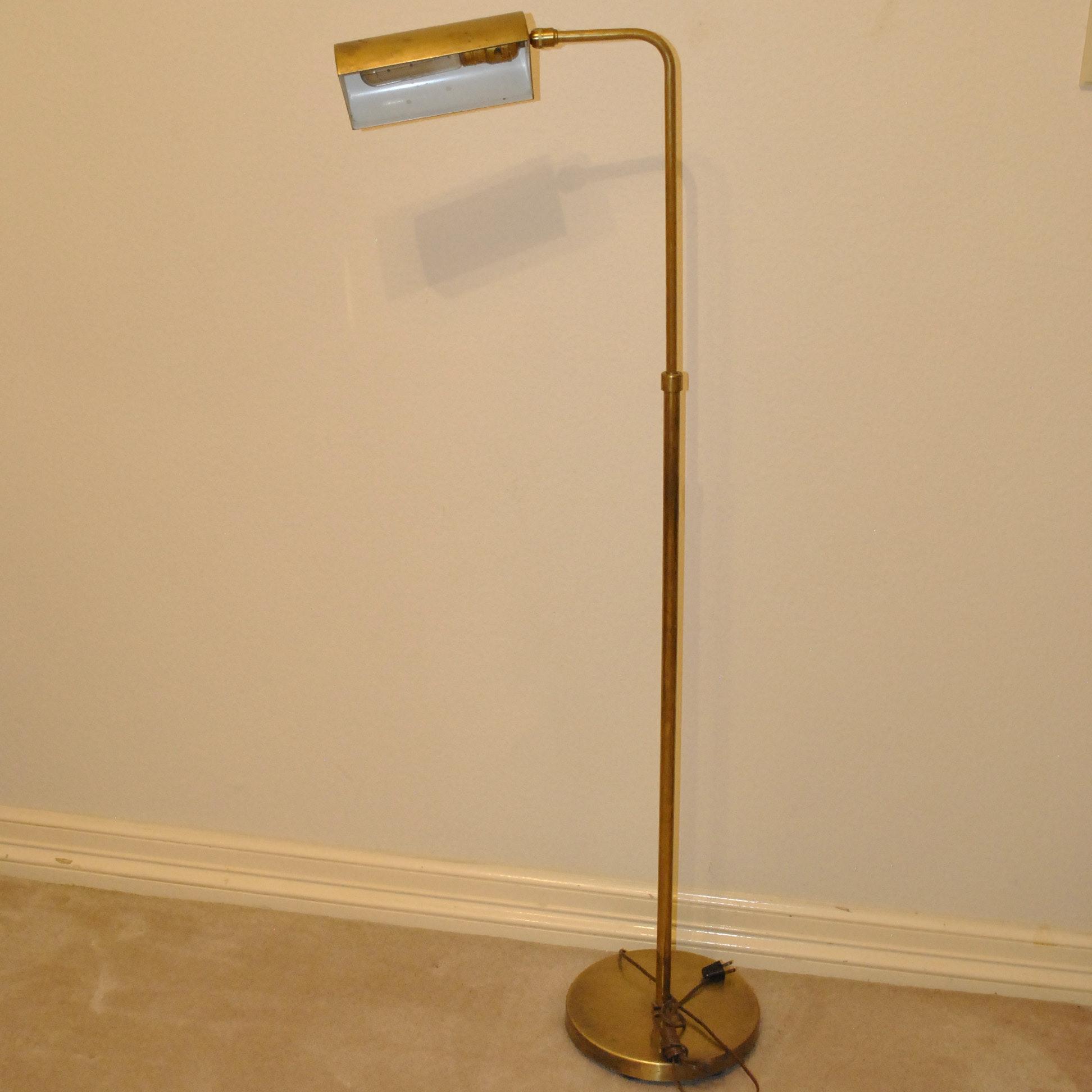 Vintage Brass Tone Metal Floor Lamp with Adjustable Hood