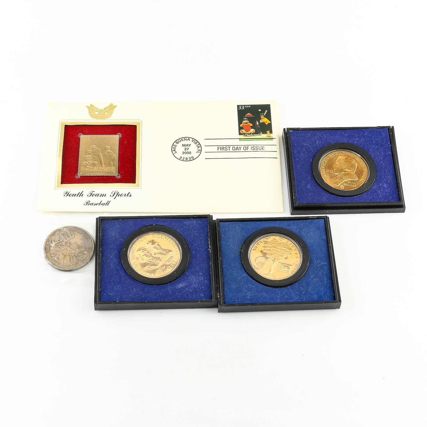 Assortment of Various Commemorative Medals and a Gold Stamp First Day Cover