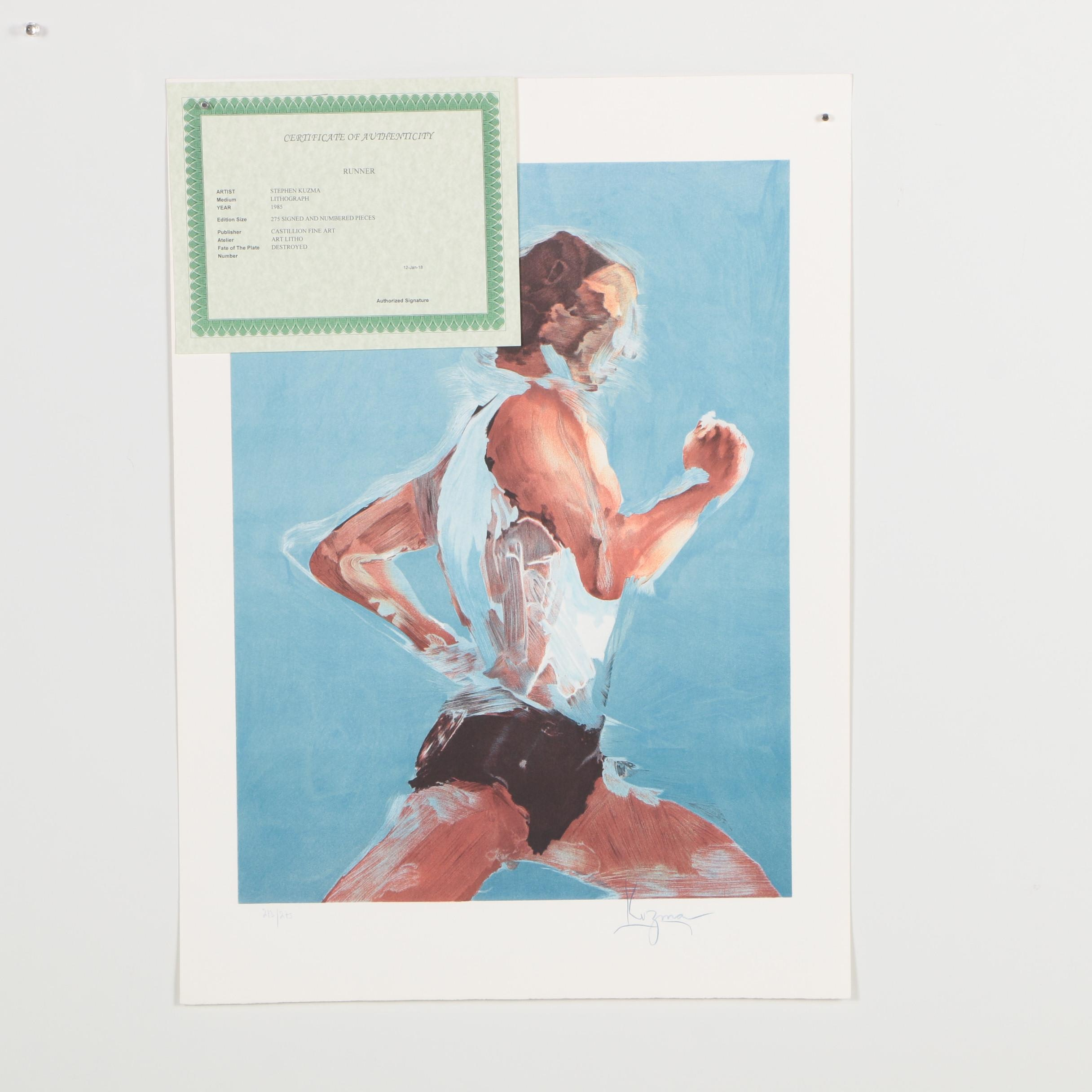 "Steve Kuzma Limited Edition Color Lithograph ""Runner"""
