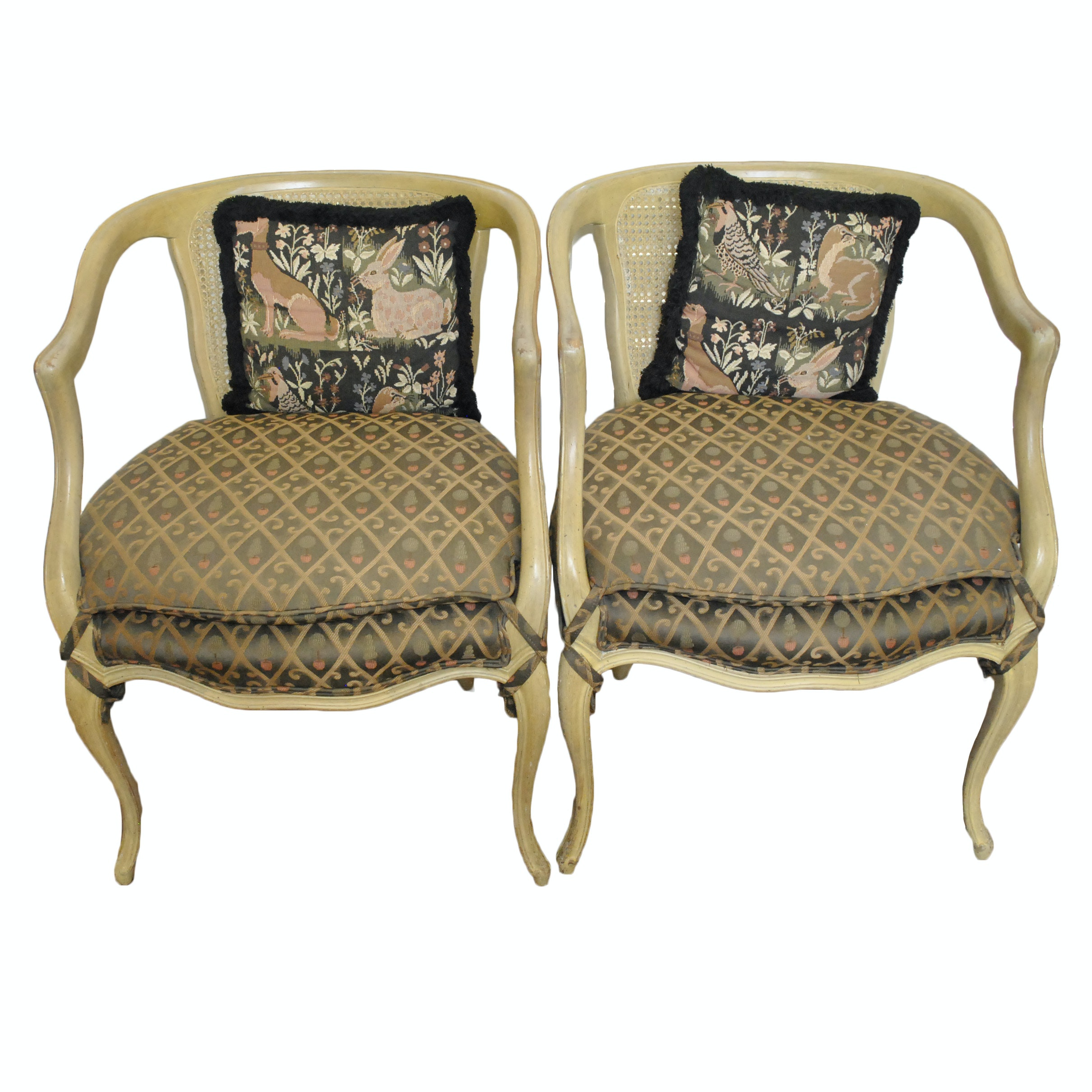 French Provincial Style Cane Back Armchairs