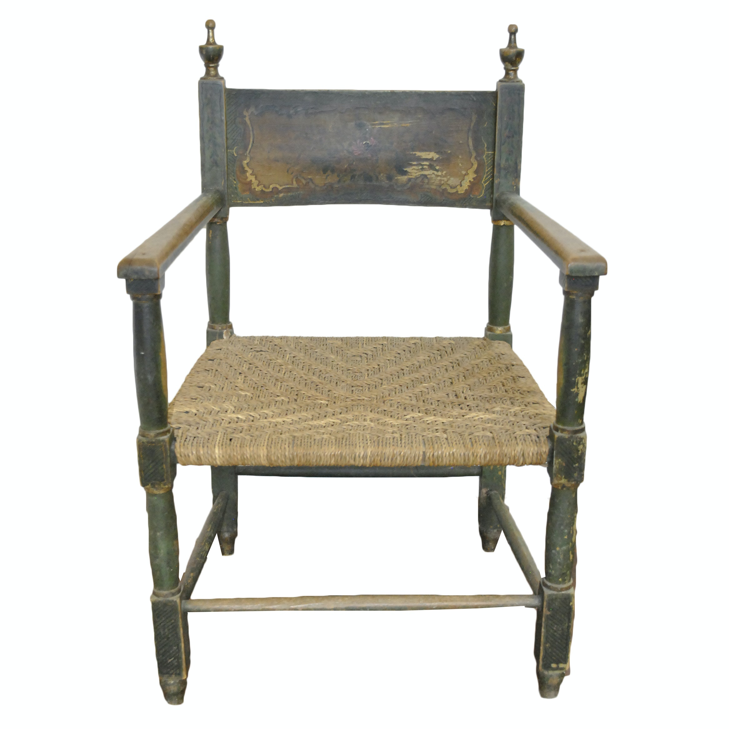 Antique Hand Painted Wooden Armchair with Rush Seat