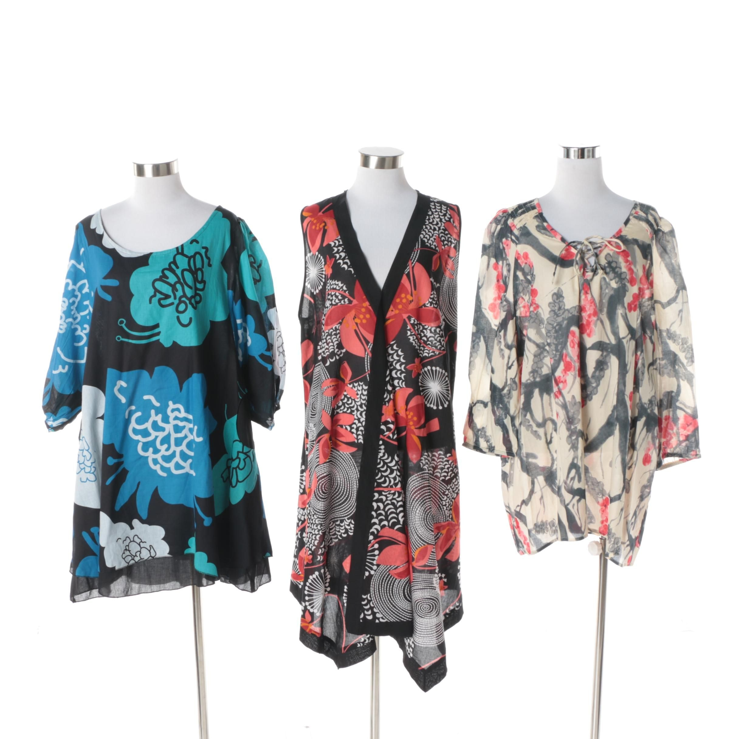 Aller Simplement Botanical Patterned Tunics and Dresses