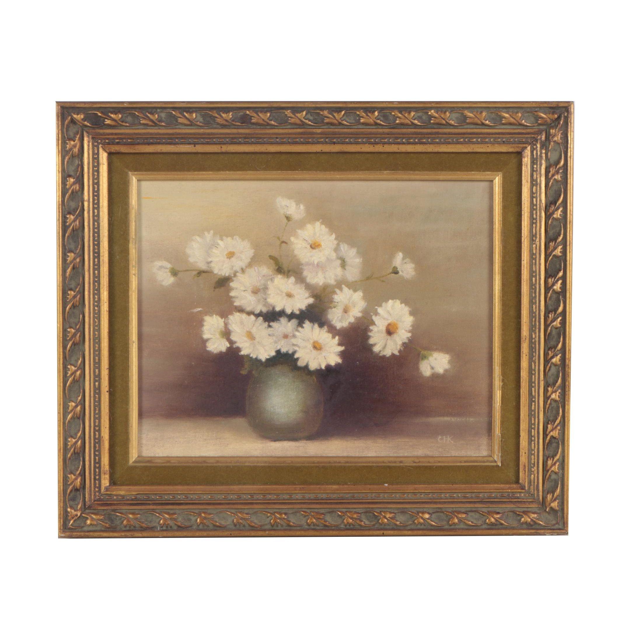 """Catherine H. Koenig Oil Painting """"White Daisies"""""""