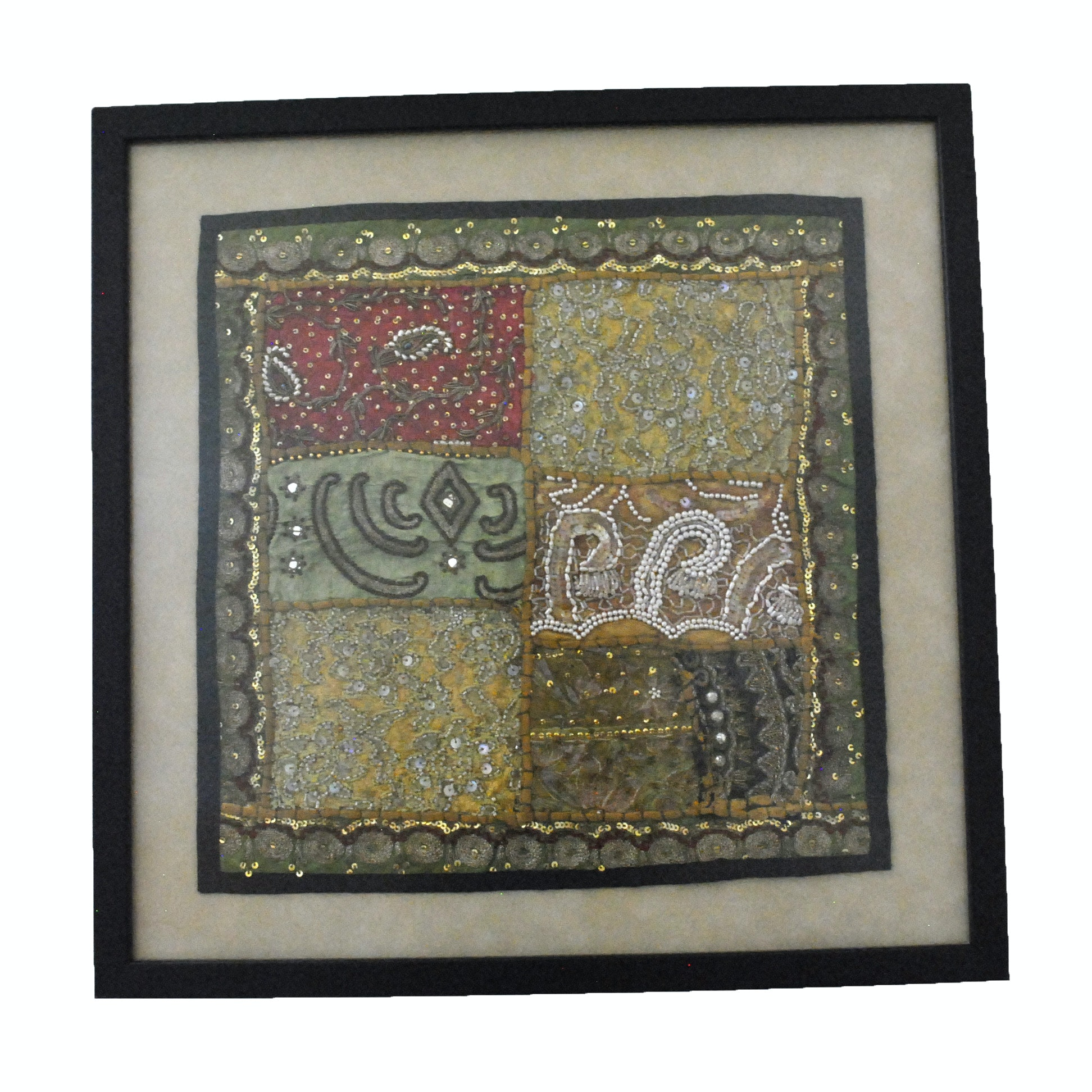 Framed Embroidered and Beaded Sari Style Textile Wall Hanging