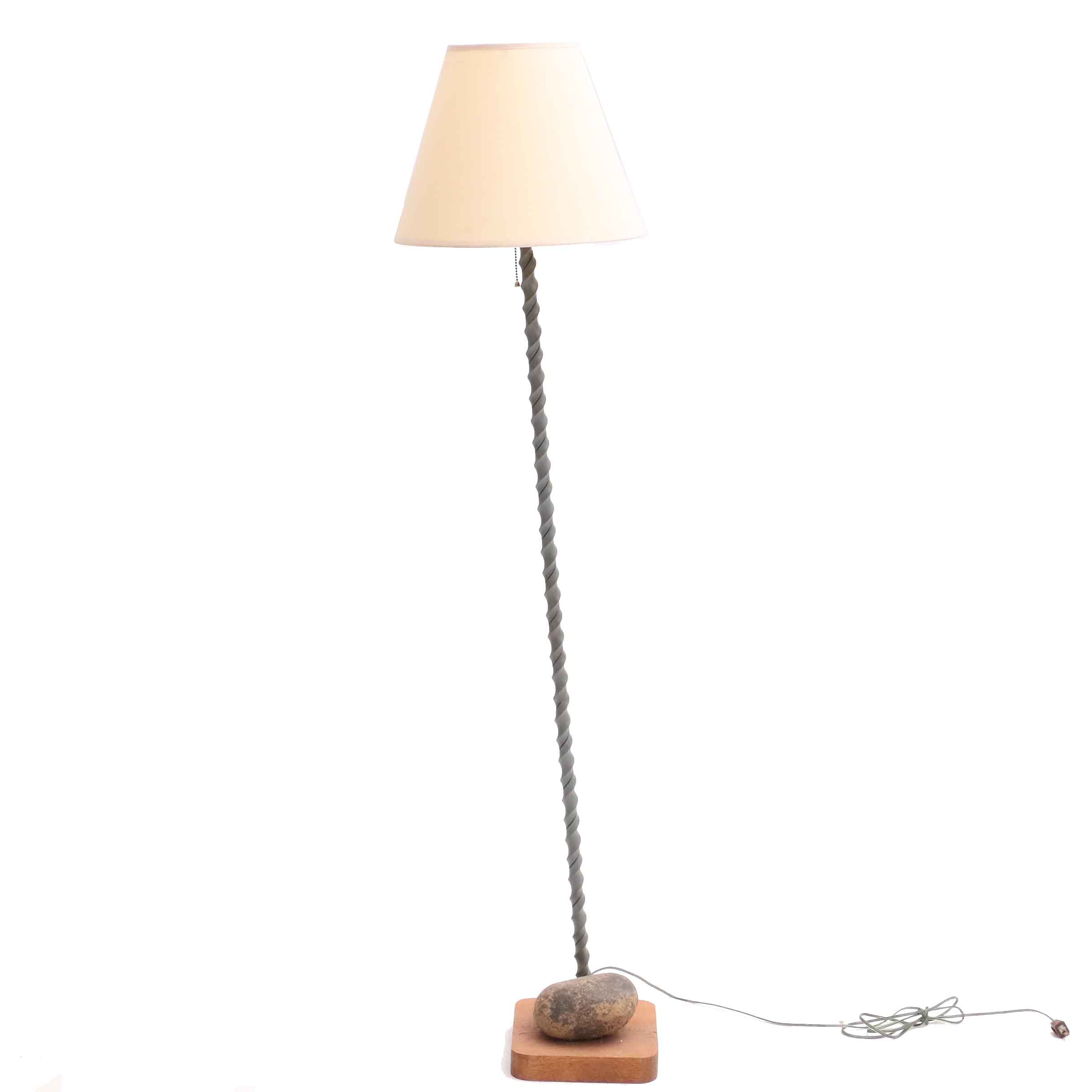 Bronze Finished Spiral Floor Lamp with Rock Weighted Base