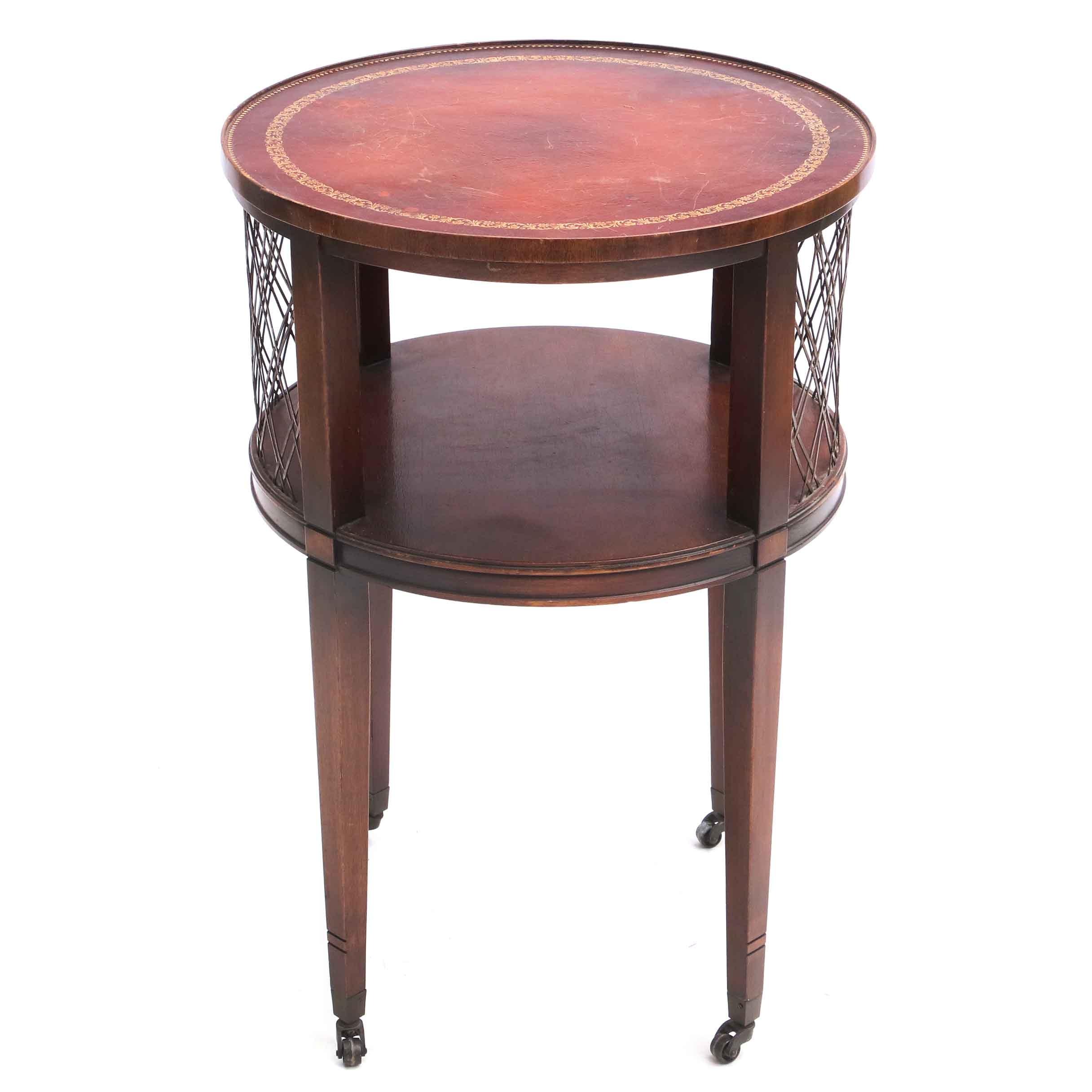 Vintage Leather Veneered End Table
