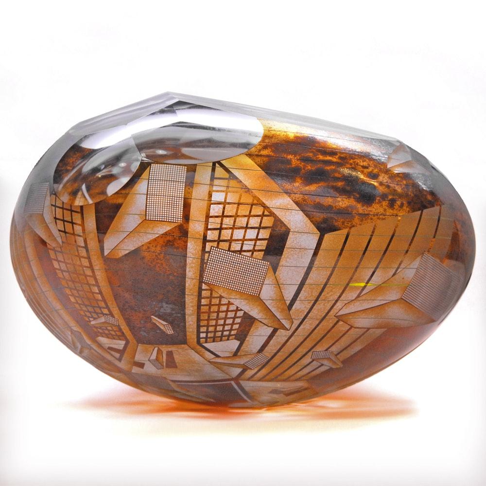 David Schwarz (Washington State, b. 1952) Structured Art Glass Bowl