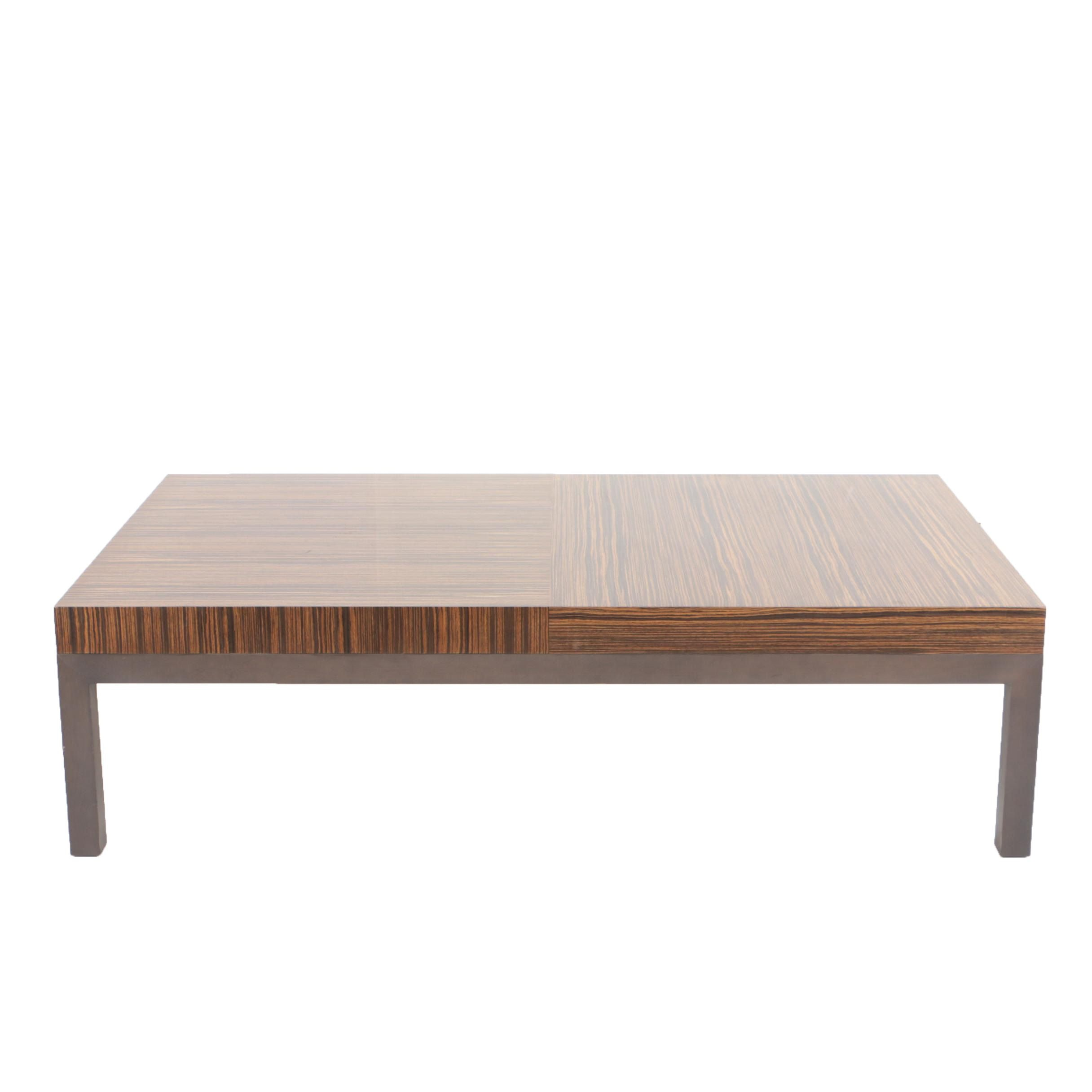 Custom Designed and Fabricated Zebrawood Coffee Table