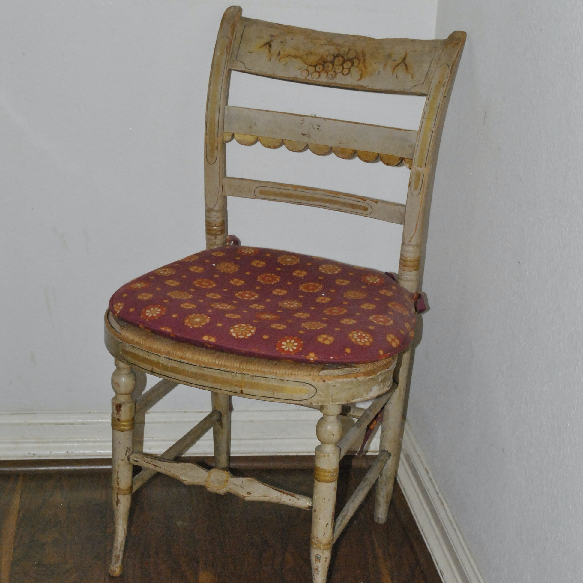 Painted Side Chair With Rush Seat ...