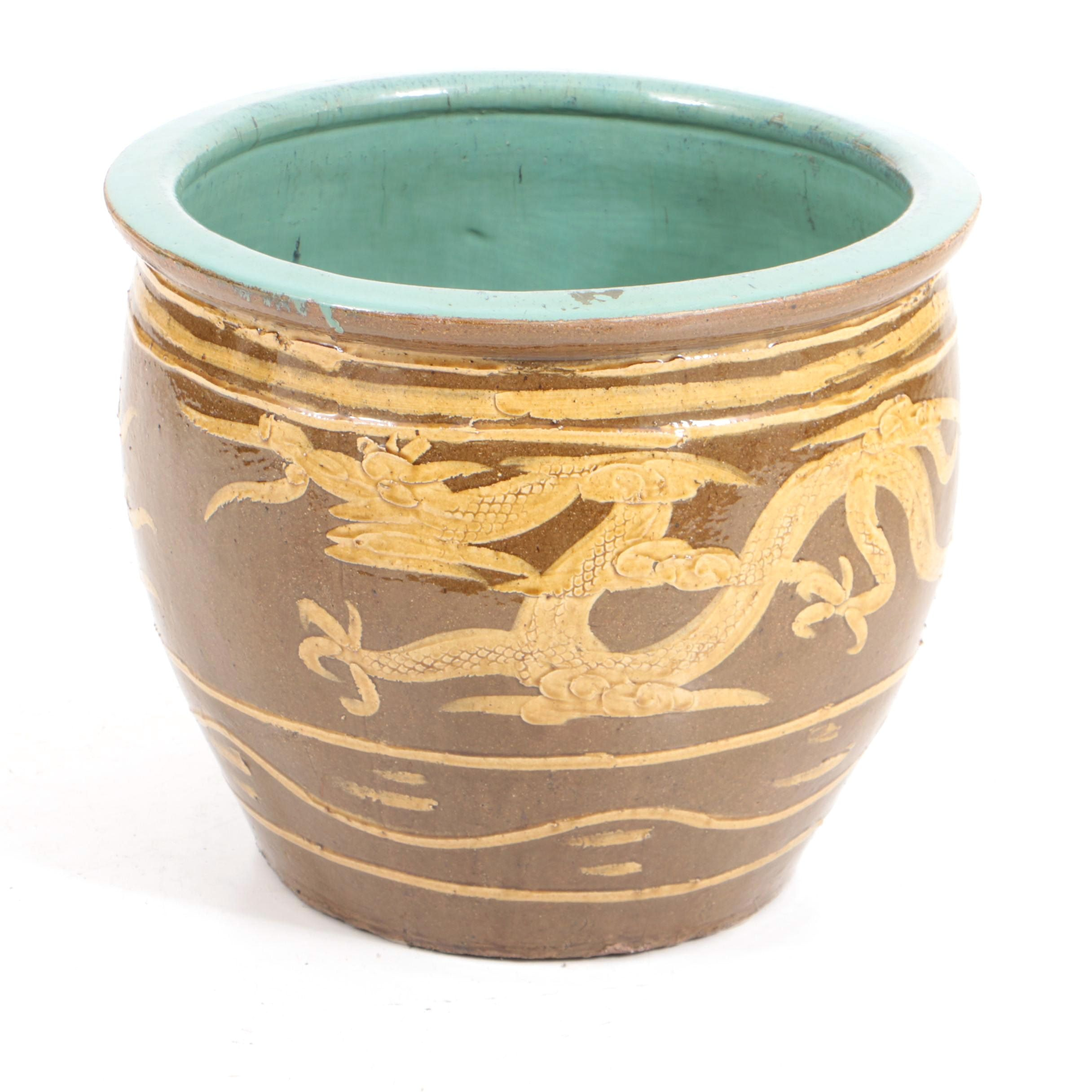 Large 20th Century Chinese Earthenware Dragon Pot
