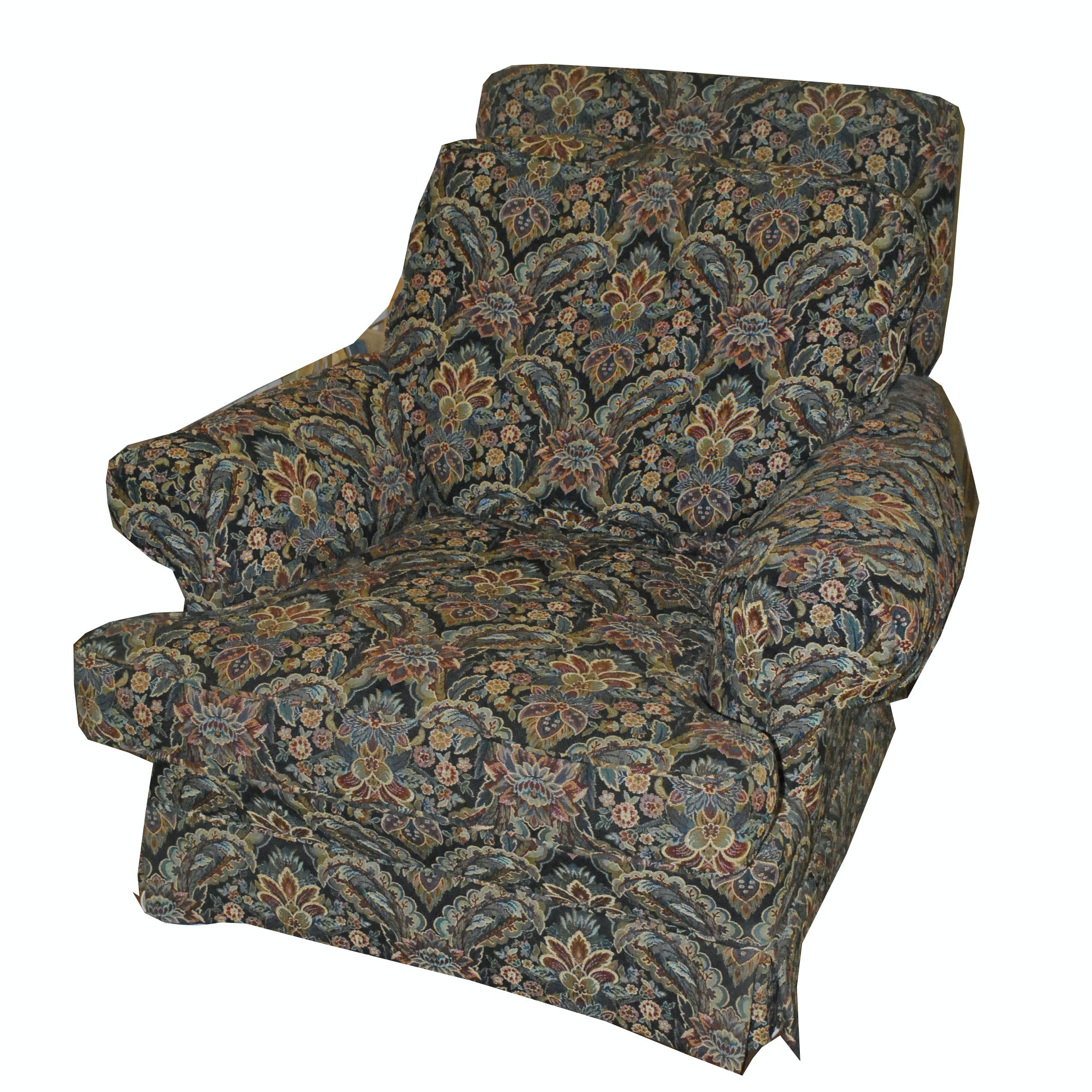 Foliate Tapestry Style Upholstered Cushioned Armchair