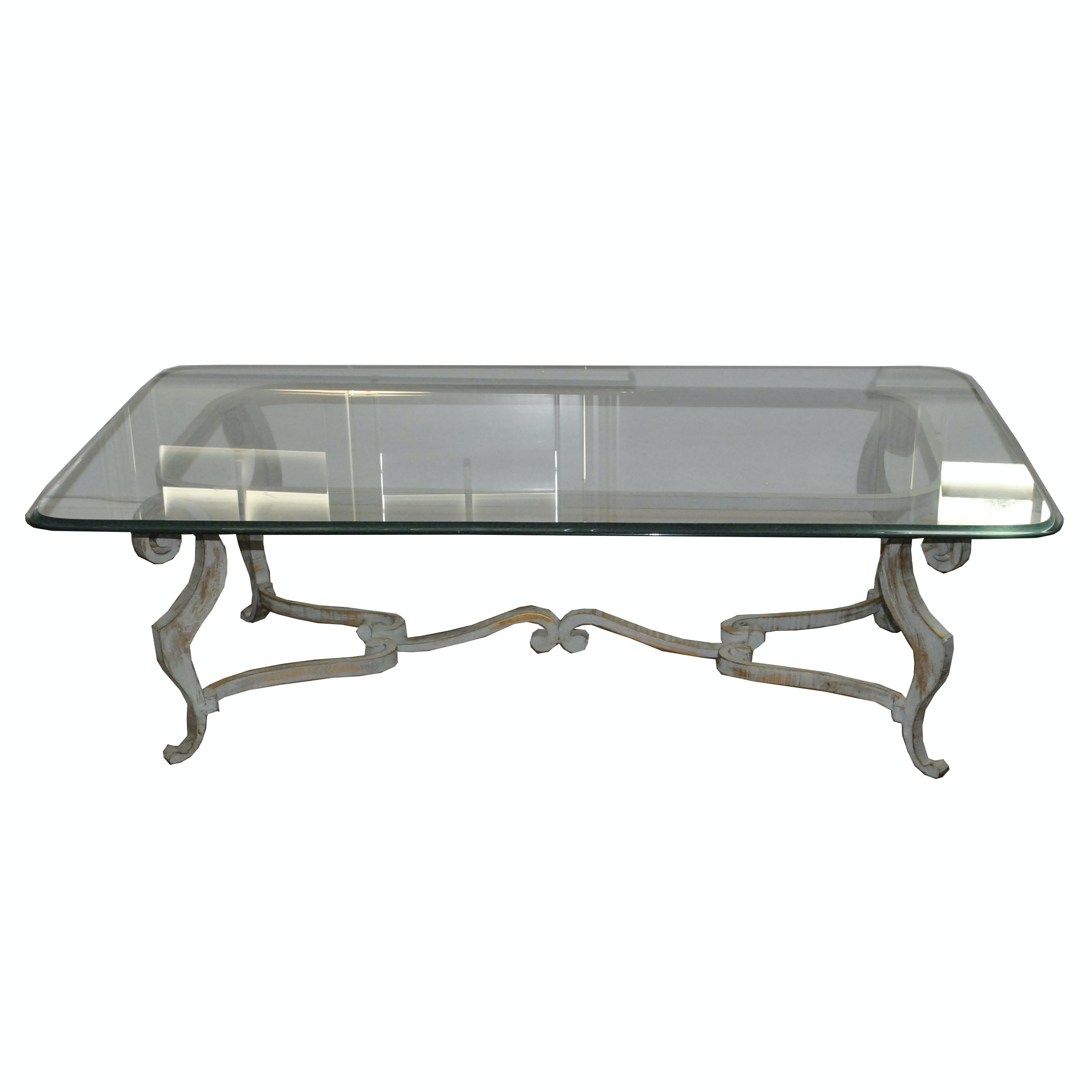 Glass Top Coffee Table with Scrolled Metal Framing