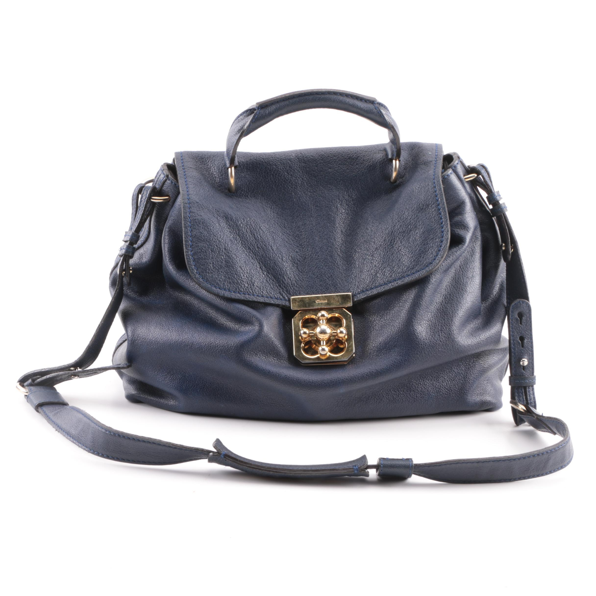Chloé Blue Leather Turn Knob Satchel