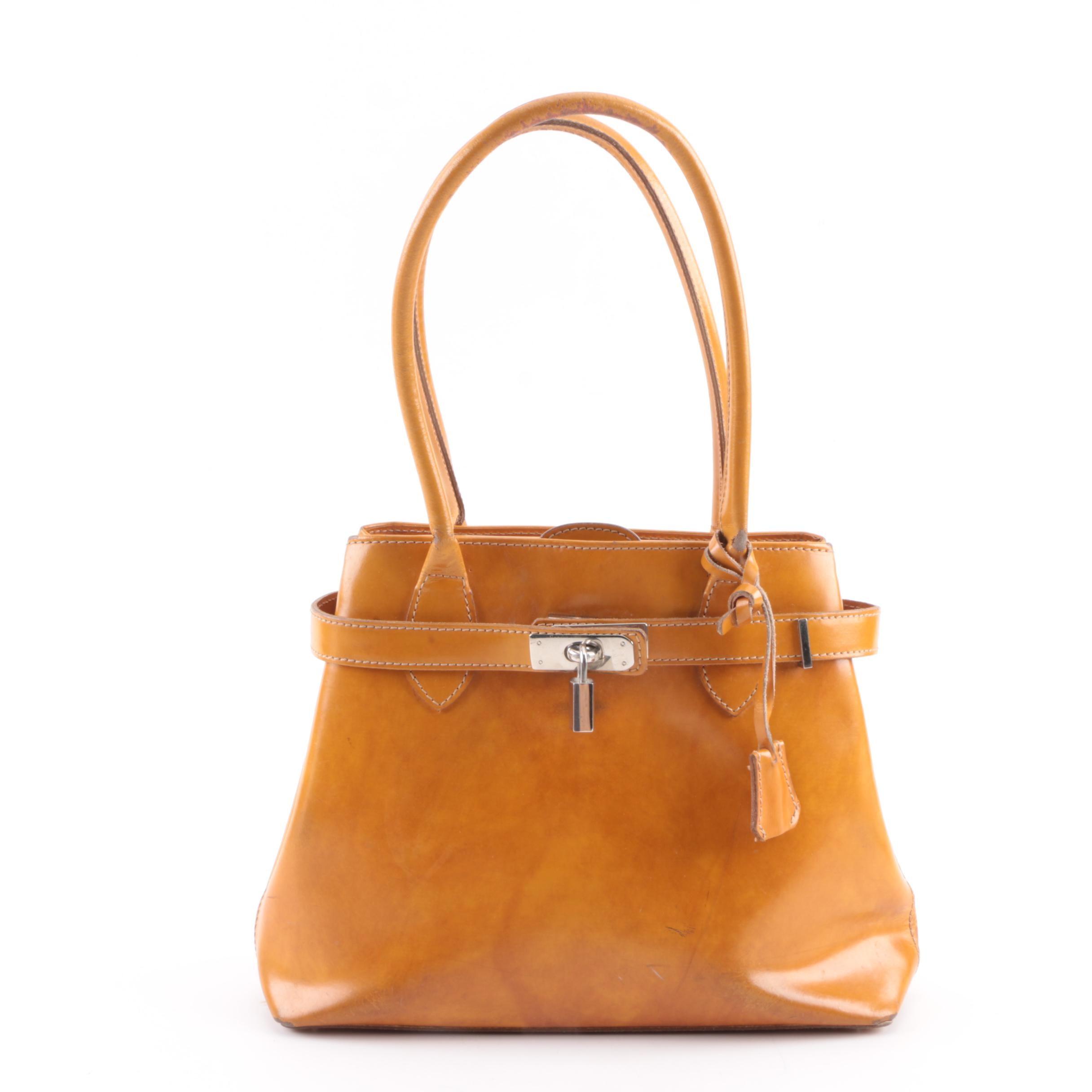 I Ponti Firenze Mustard Yellow Leather Handbag