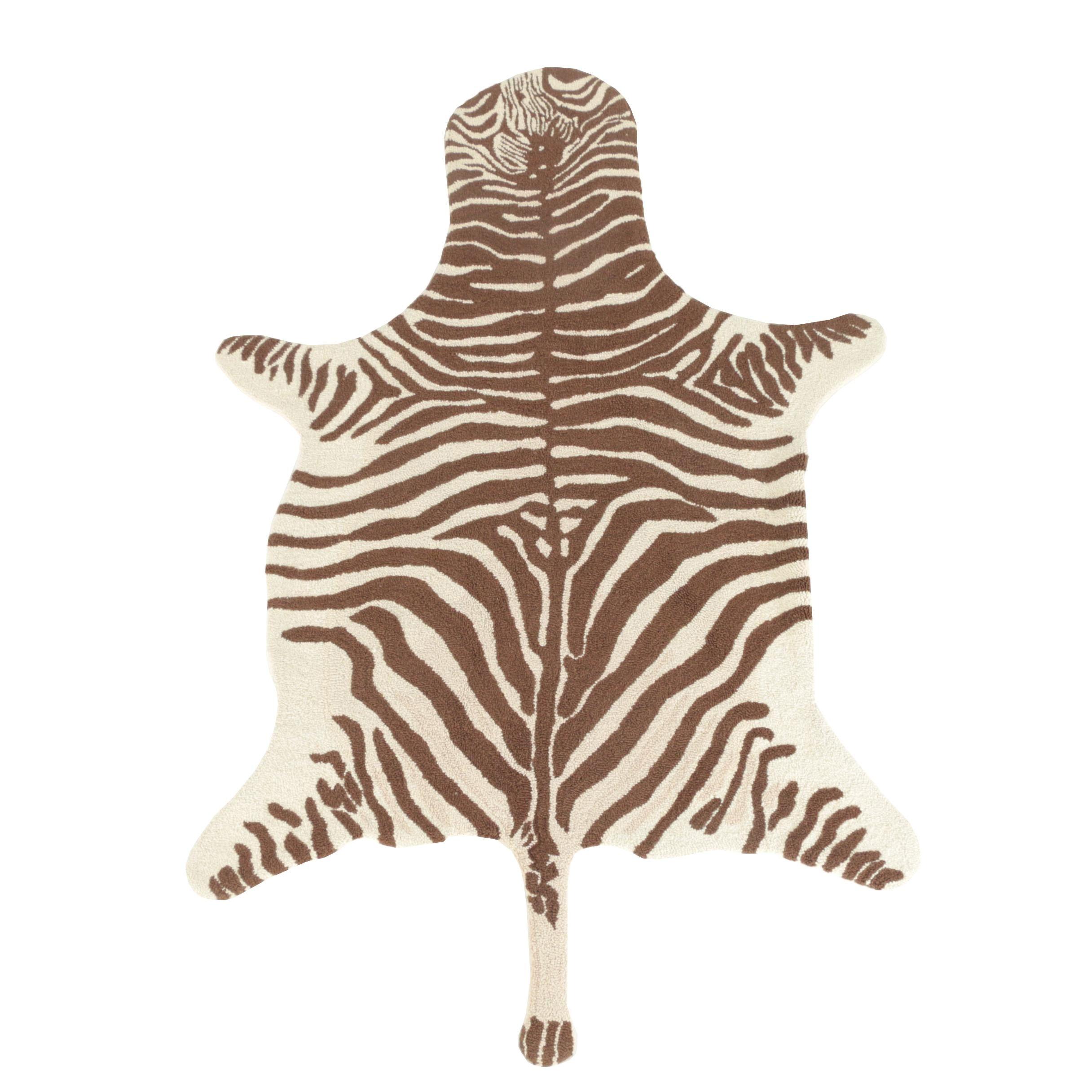 Hand-Hooked McAdoo Zebra Pattern Wool Area Rug