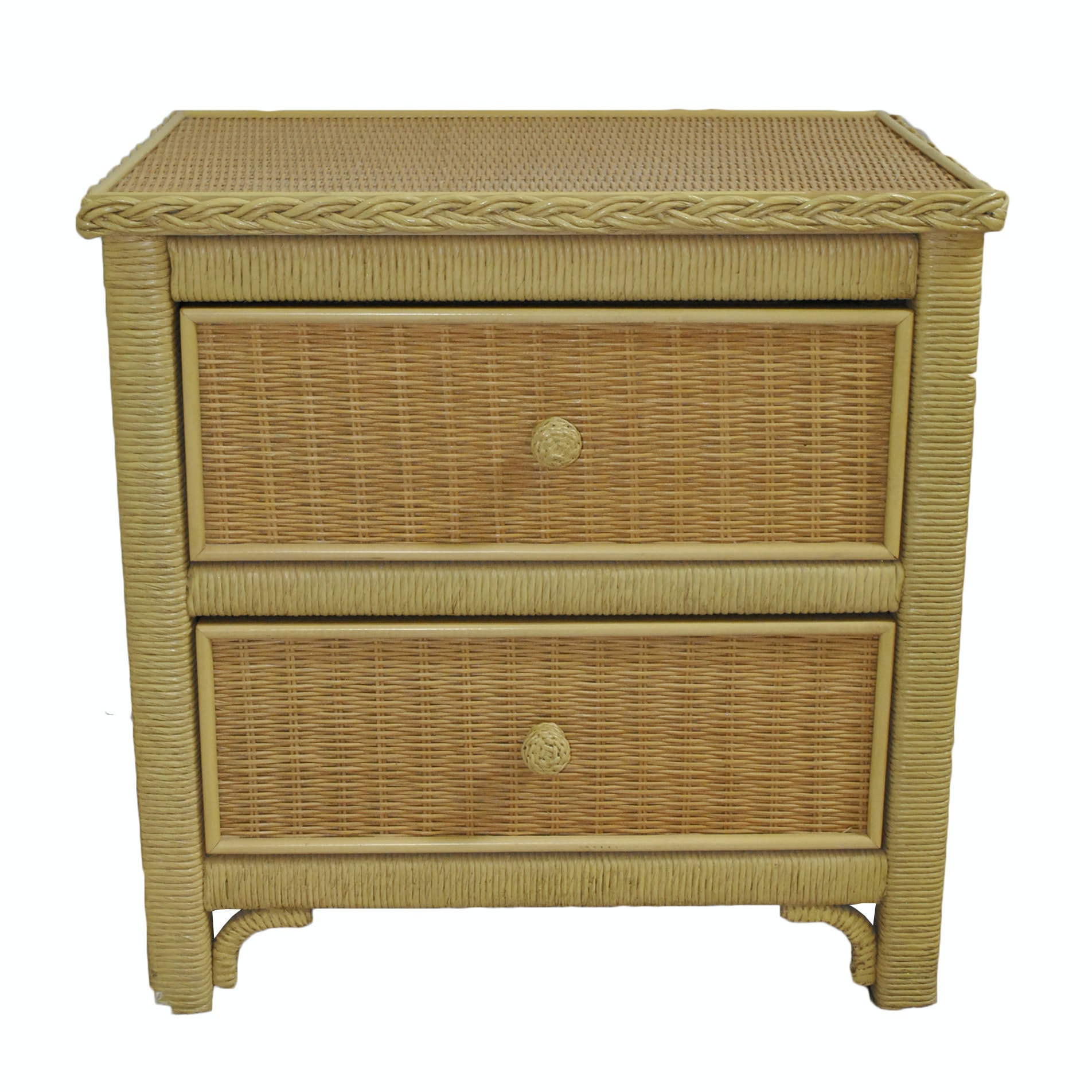 Woven Wicker Two Drawer Nightstand