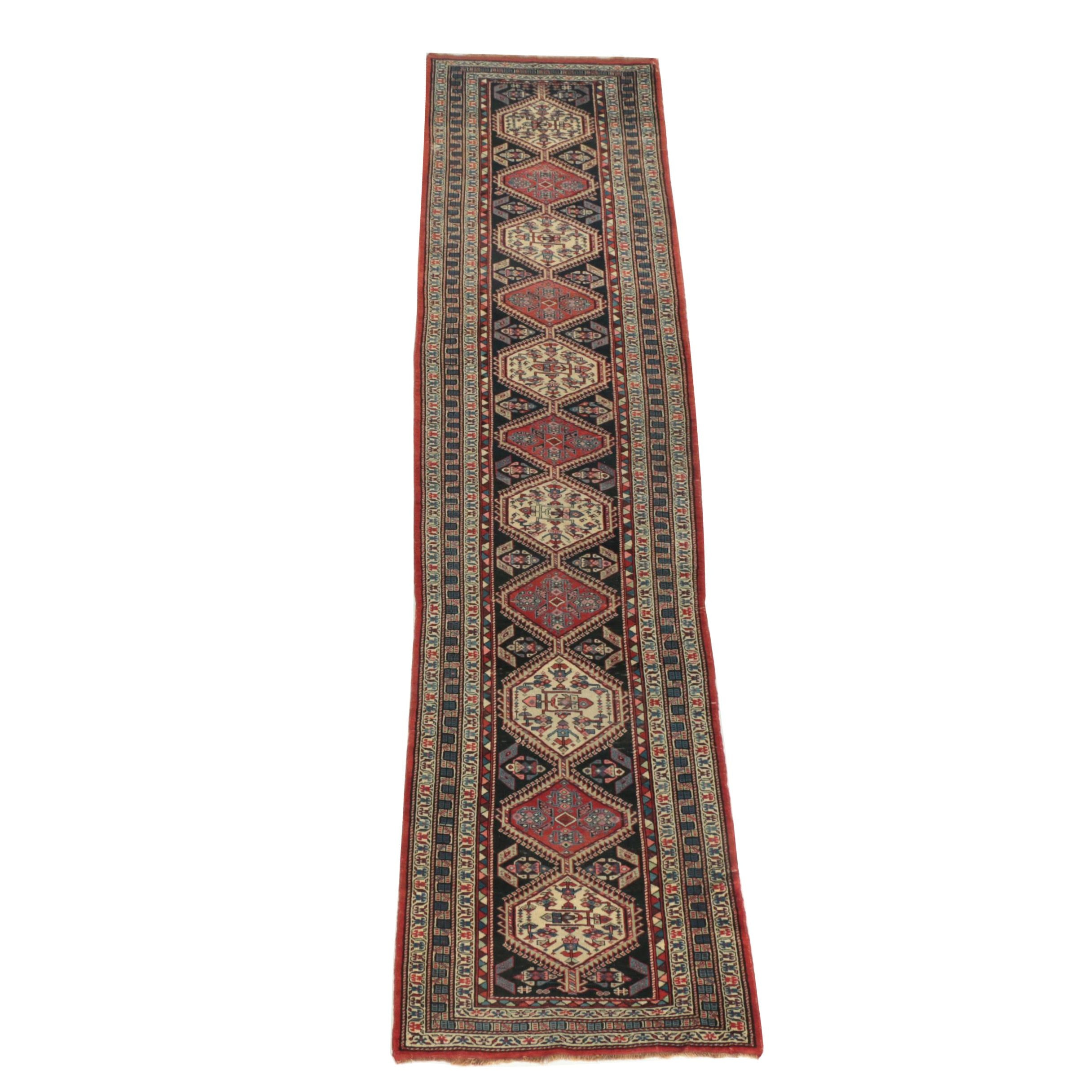 Semi-Antique Hand Knotted Persian Meshkin Carpet Runner