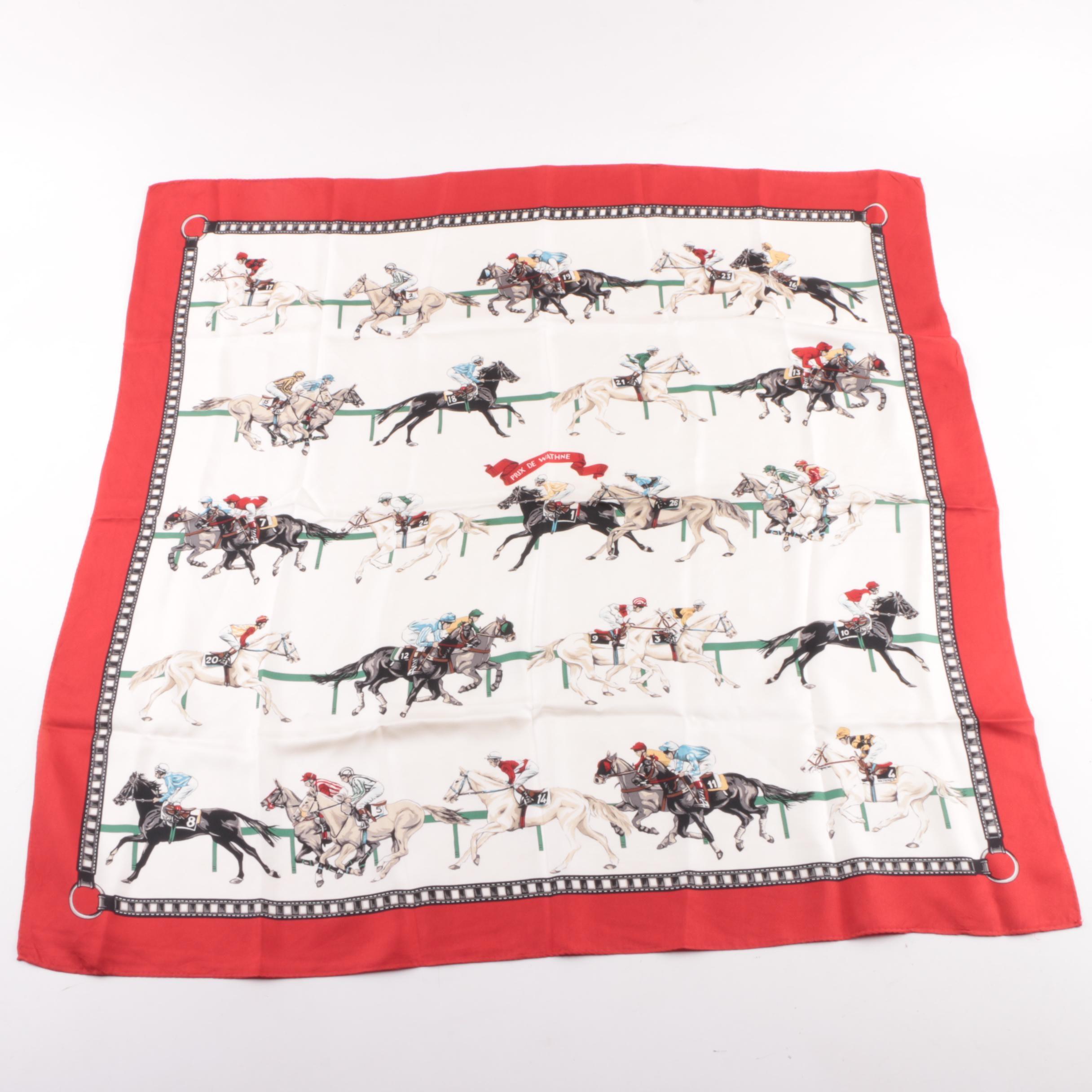 """Circa 1990s Wathne """"Prix de Wathne"""" Horse Racing Themed Silk Scarf"""