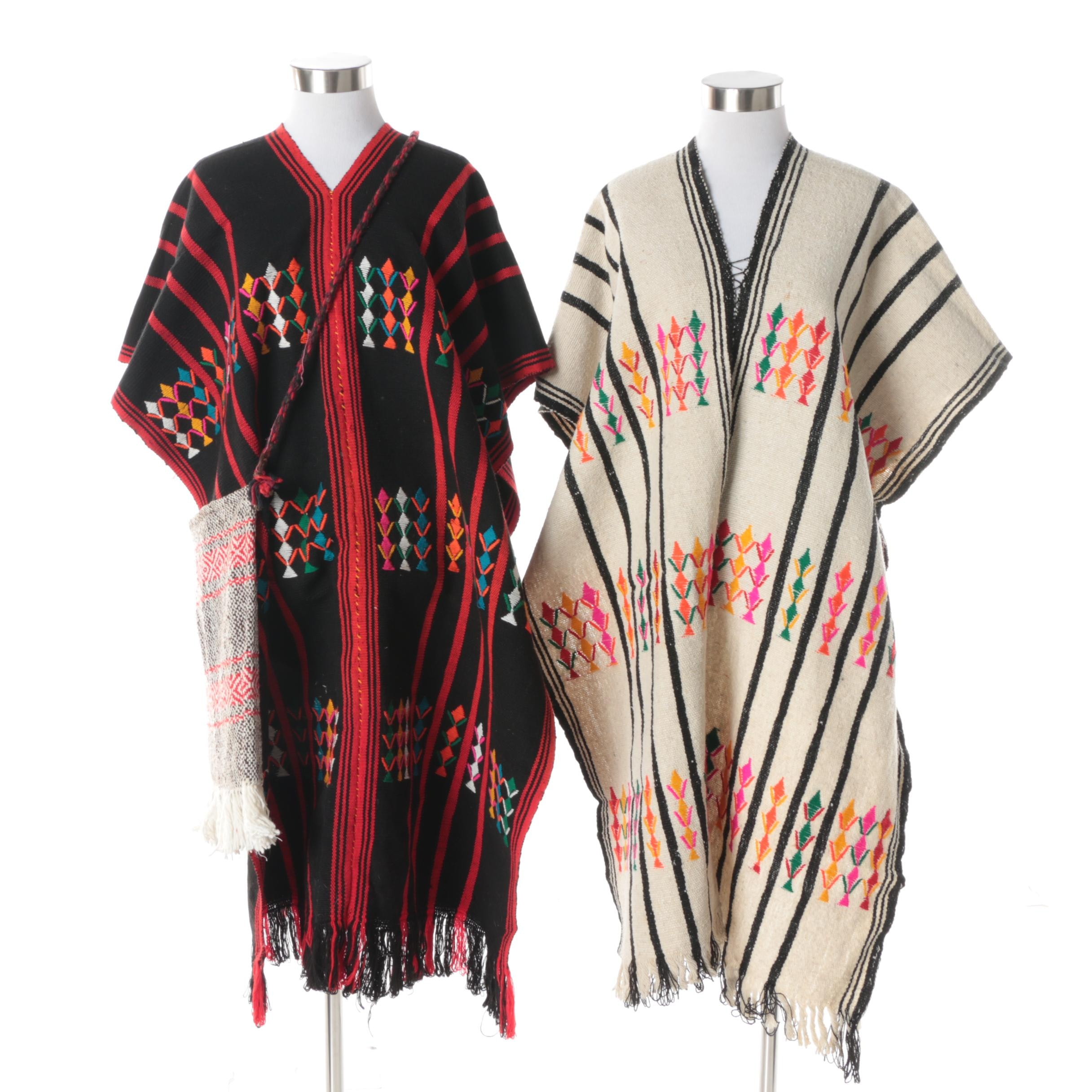 South American Style Handwoven and Embroidered Ponchos with Handwoven Crossbody