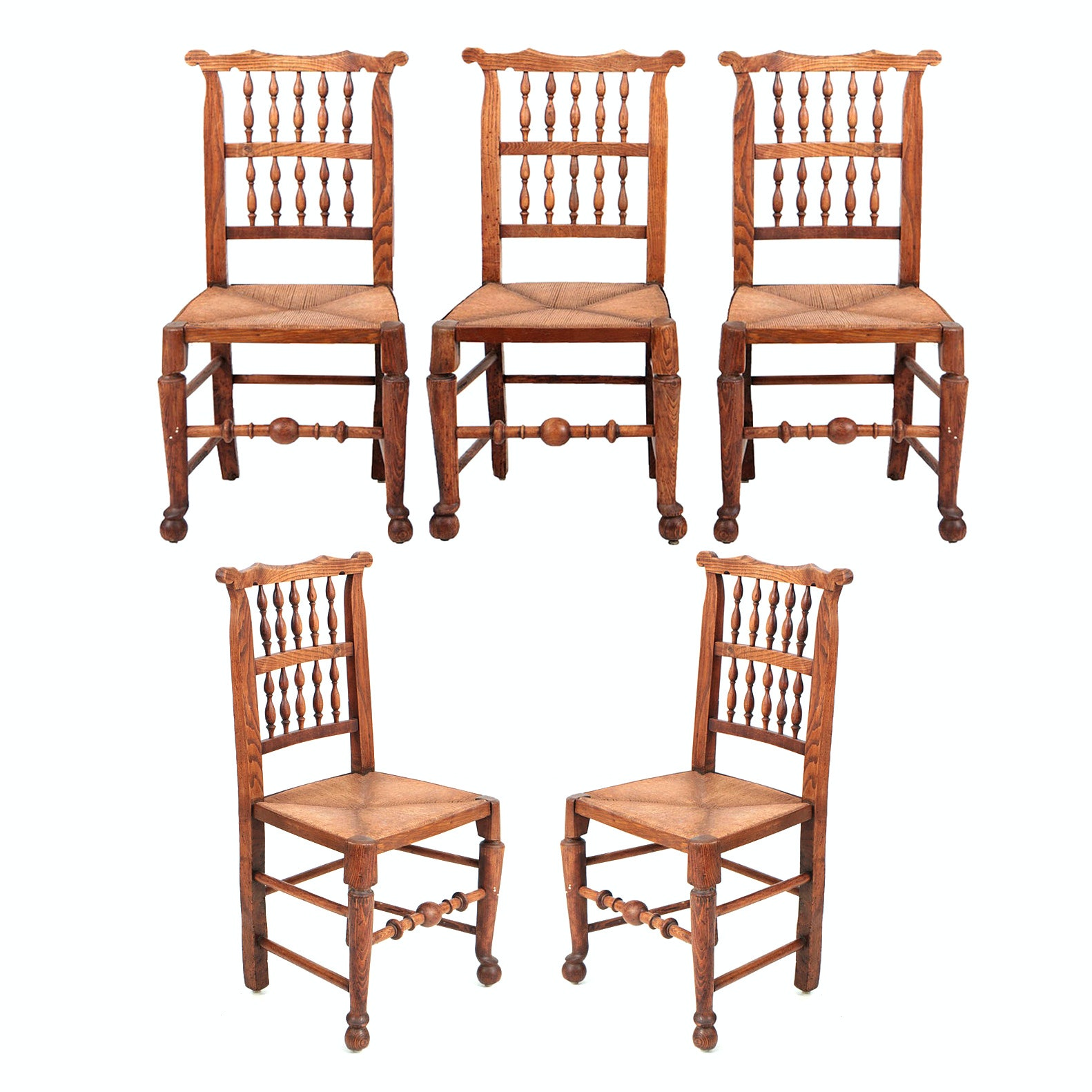 French Provincial Rush Seat Oak Wood Side Chairs