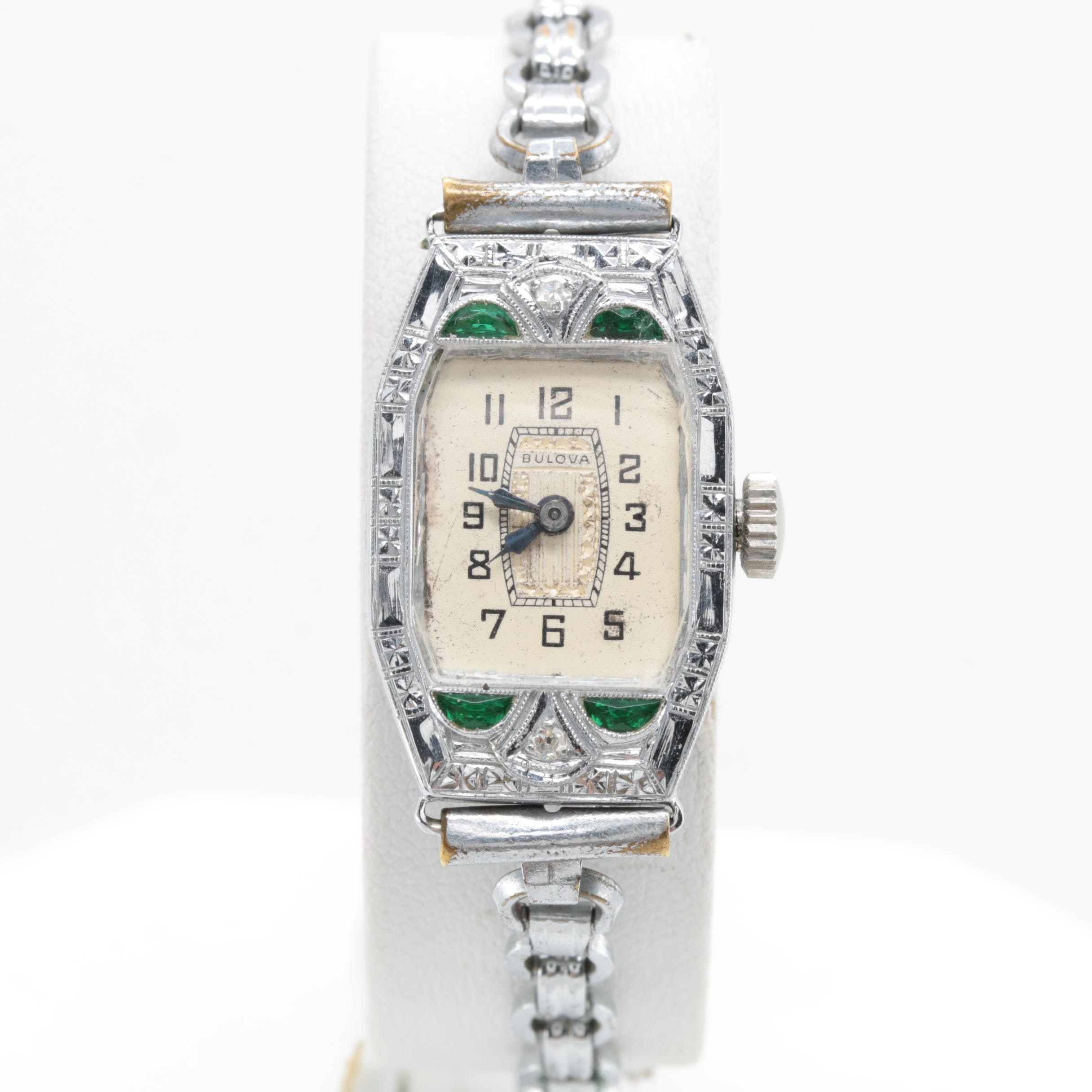 Bulova 14K White Gold Wristwatch Featuring Diamonds and Green Glass