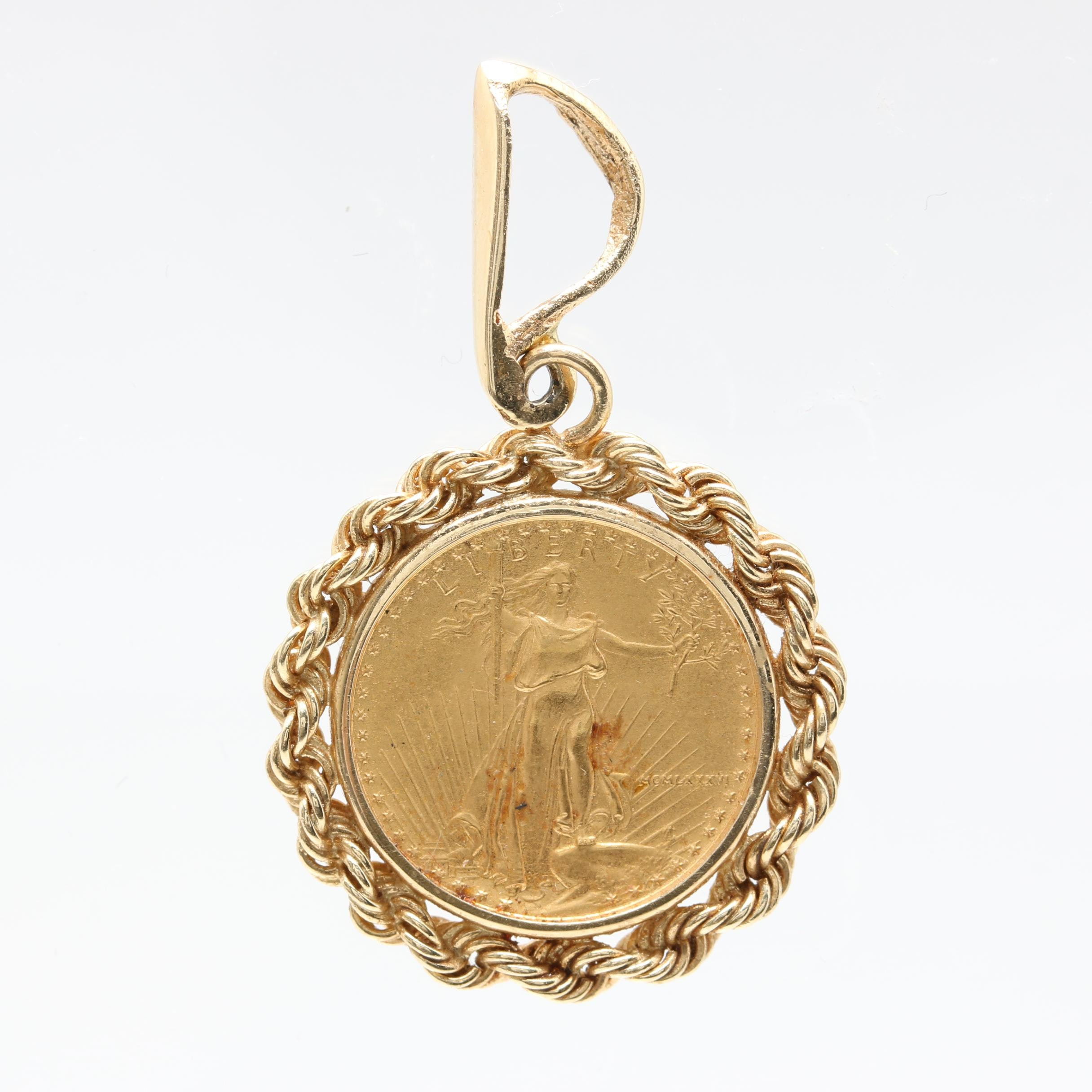 14K Yellow Gold Pendant with 1986 $5 American Eagle Gold Bullion Coin