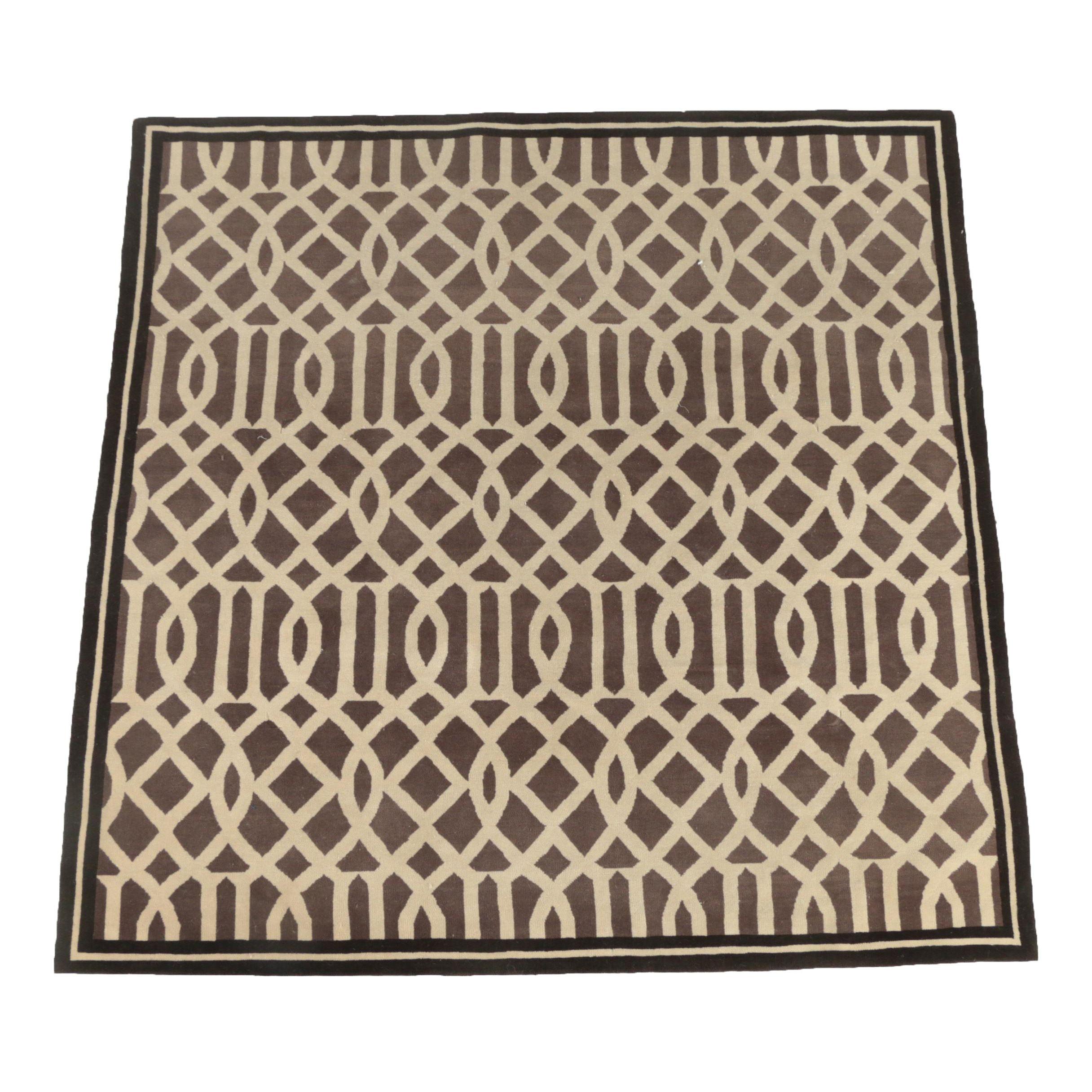 Handwoven Geometric Lattice Wool Area Rug