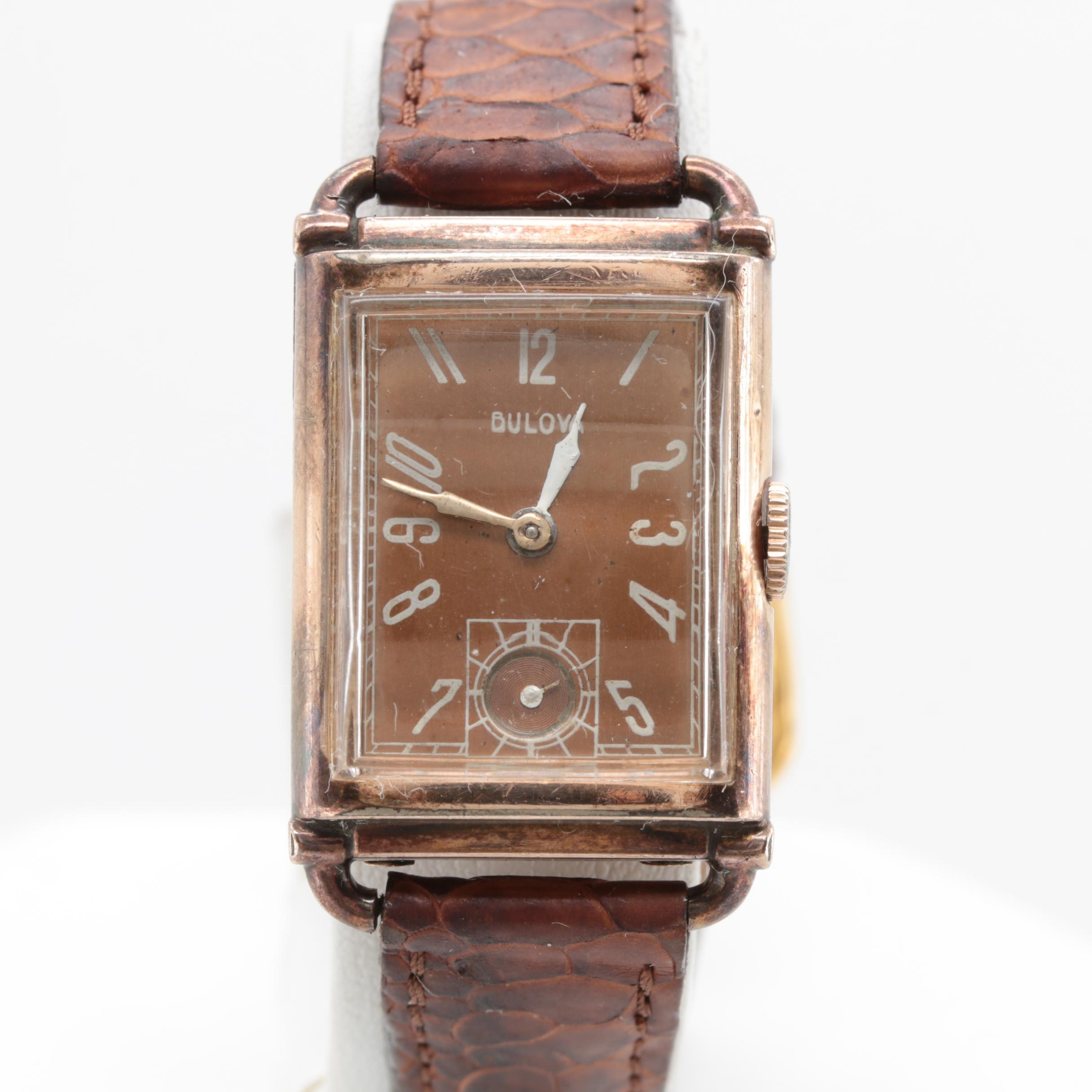 Bulova Gold Filled Leather Wristwatch