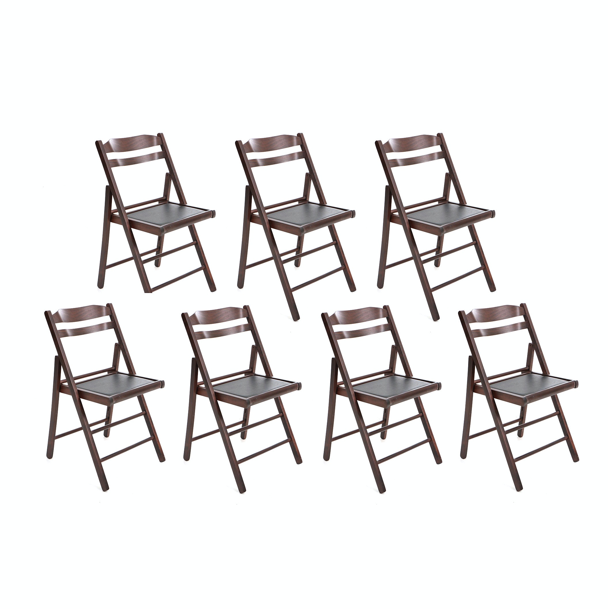 Wood and Faux Leather Folding Chairs by Linon Home Décor